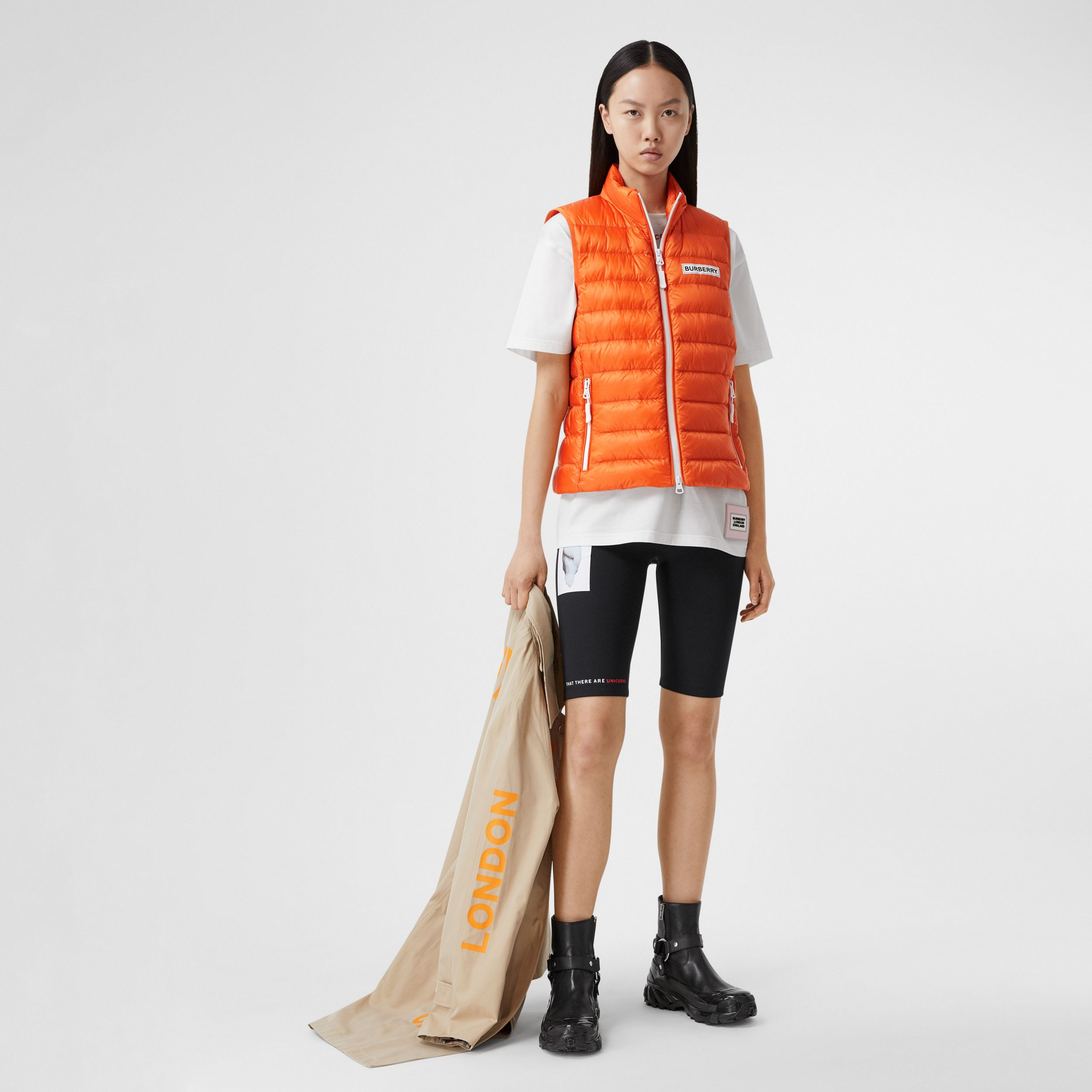 Logo Print Lightweight Puffer Gilet in Bright Orange - Women | Burberry Australia - 1