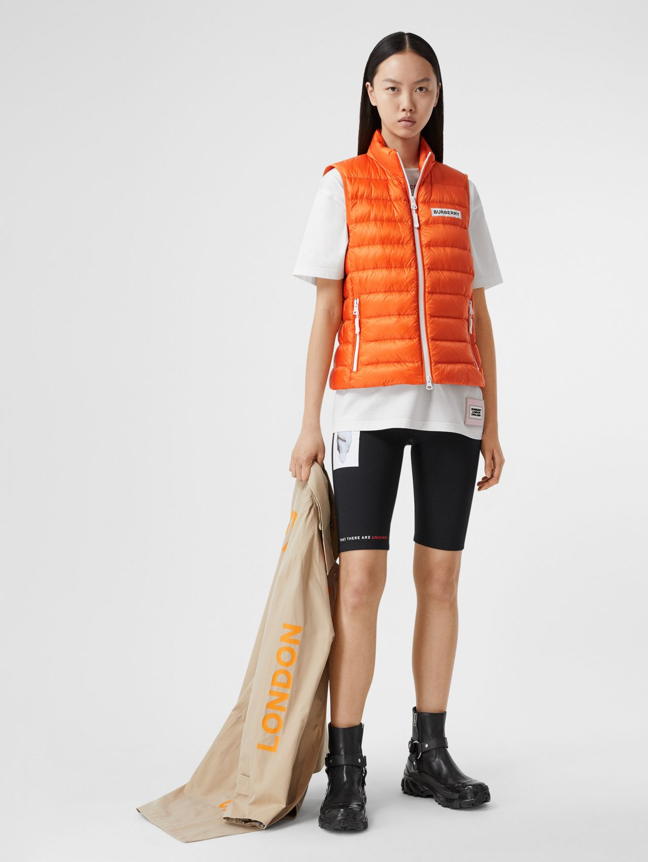 Logo Print Lightweight Puffer Gilet in Bright Orange