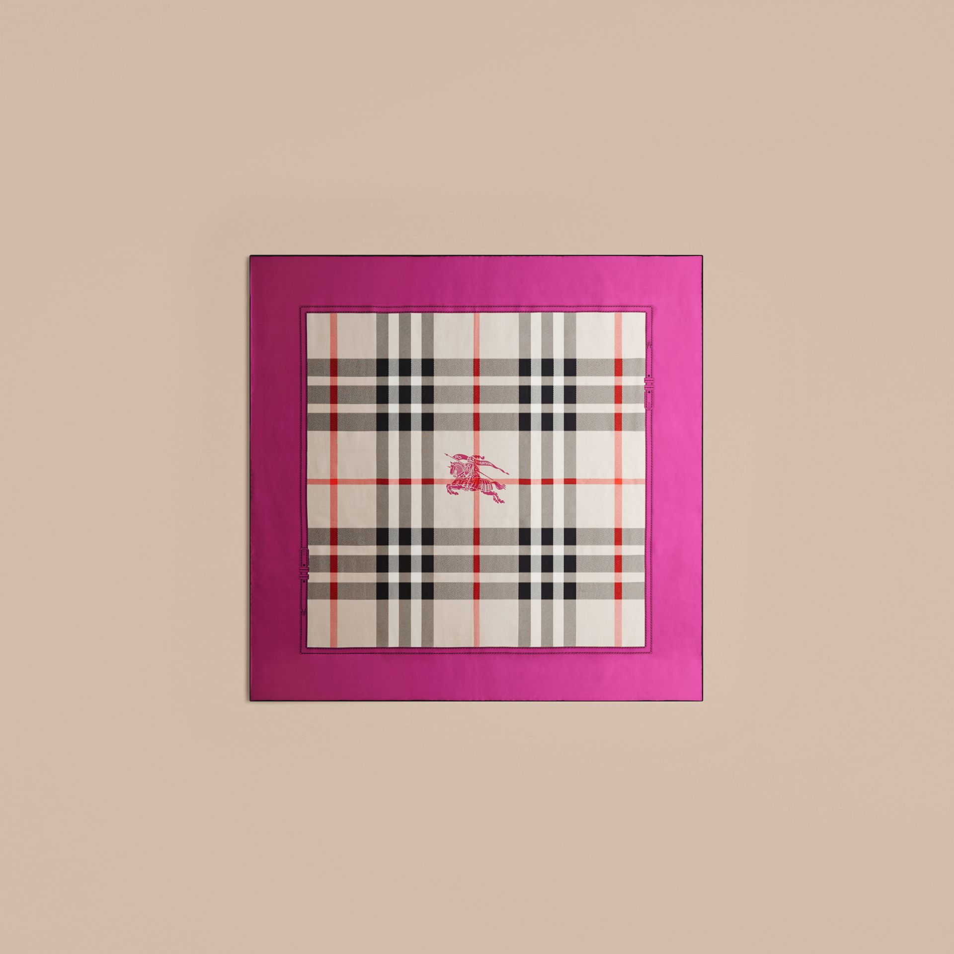 Magenta pink Horseferry Check Silk Square – Medium Magenta Pink - gallery image 4