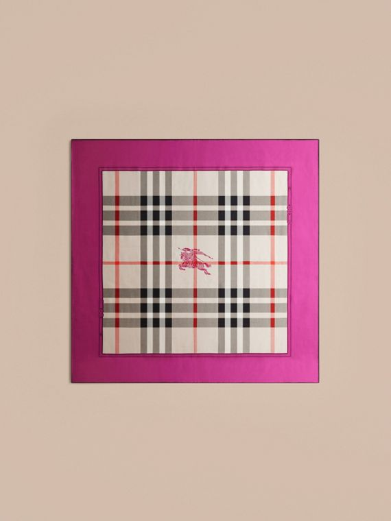 Magenta pink Horseferry Check Silk Square – Medium Magenta Pink - cell image 3