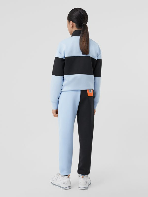 Logo Graphic Two-tone Stretch Jersey Trackpants in Pale Blue | Burberry United Kingdom - cell image 2