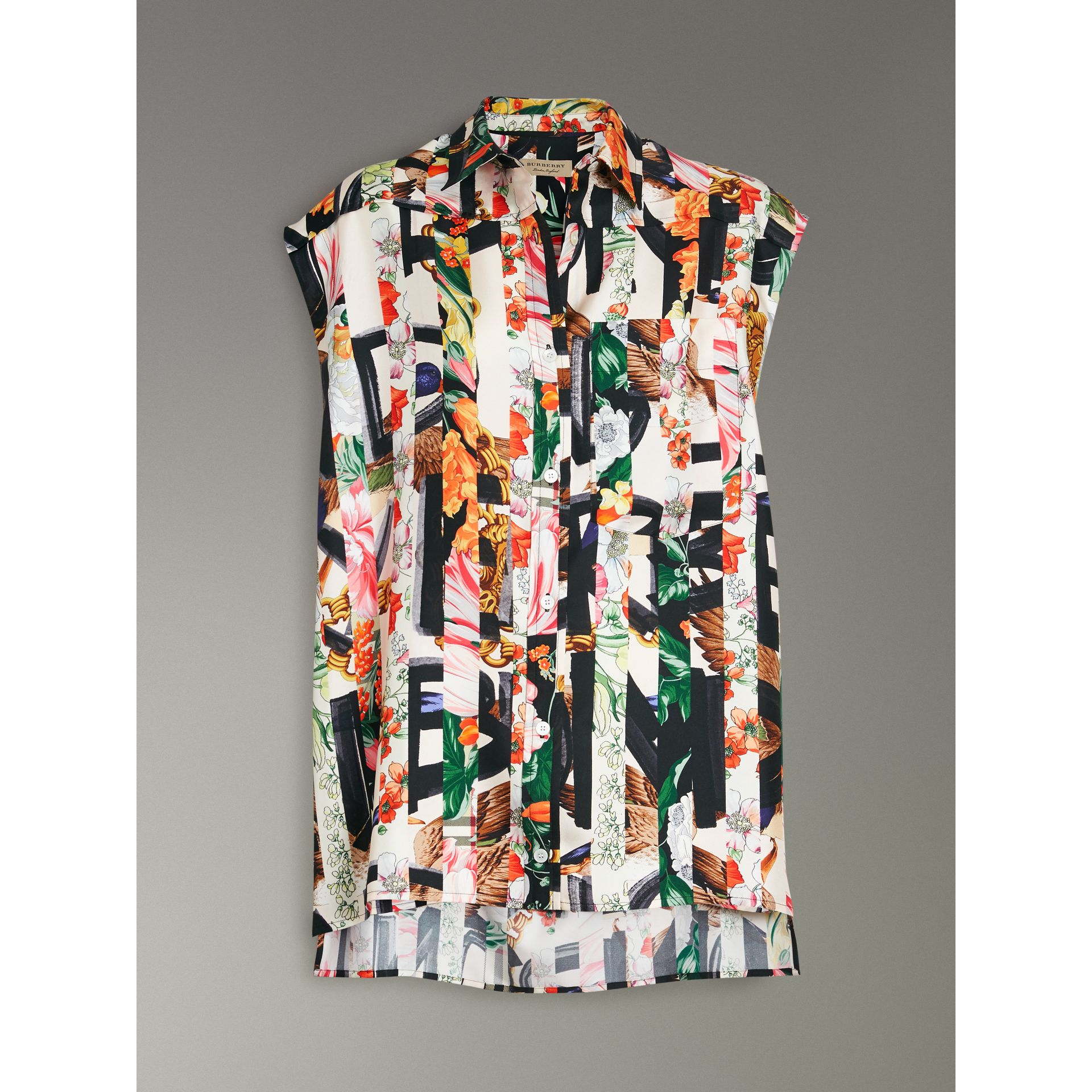 Archive Scarf Print Silk Sleeveless Shirt in Multicolour - Women | Burberry - gallery image 3