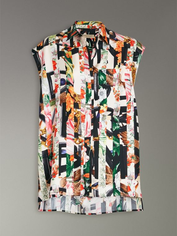 Archive Scarf Print Silk Sleeveless Shirt in Multicolour - Women | Burberry - cell image 3