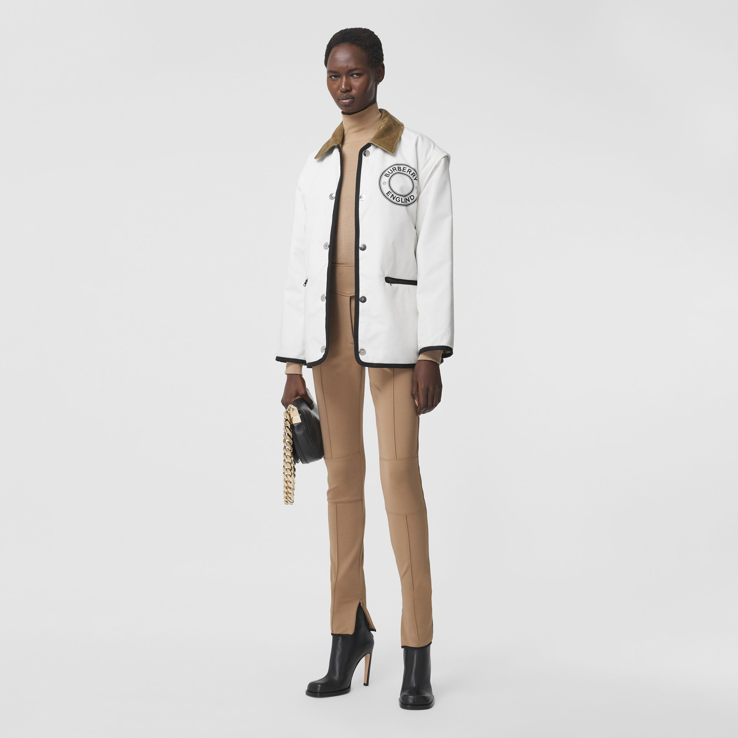 Detachable Sleeve Reversible Logo Graphic Jacket in Natural White - Women | Burberry - 1