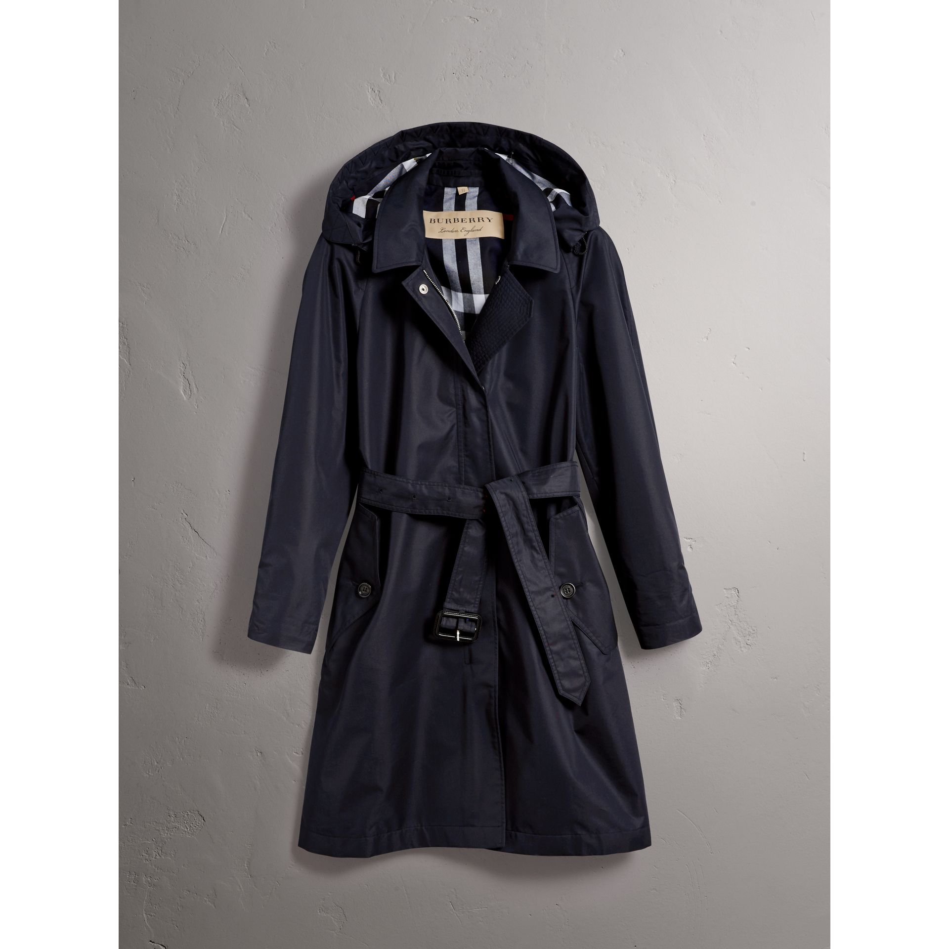 Detachable Hood Cotton Blend Car Coat in Navy - Women | Burberry - gallery image 3