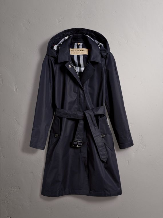 Detachable Hood Cotton Blend Car Coat in Navy - Women | Burberry - cell image 3