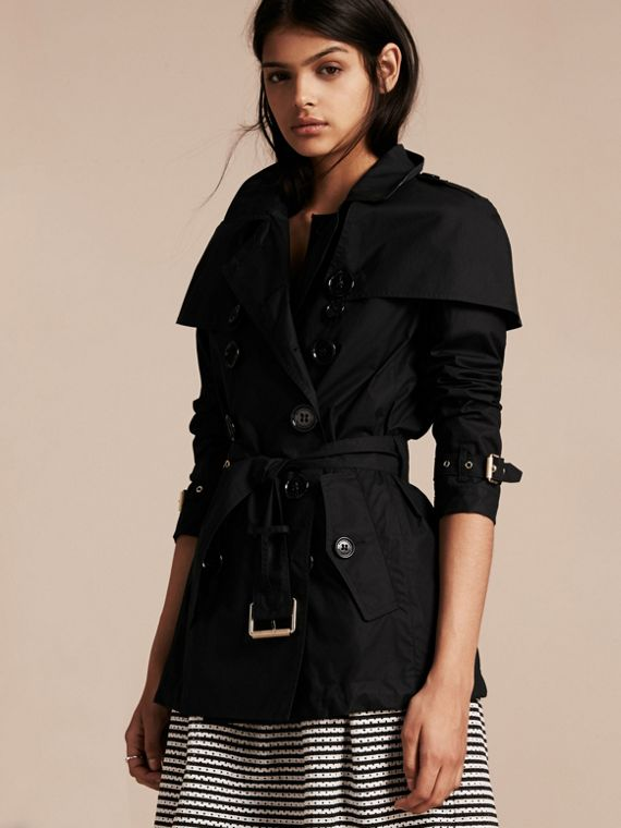 Lightweight Cape Detail Cotton Trench Coat Black