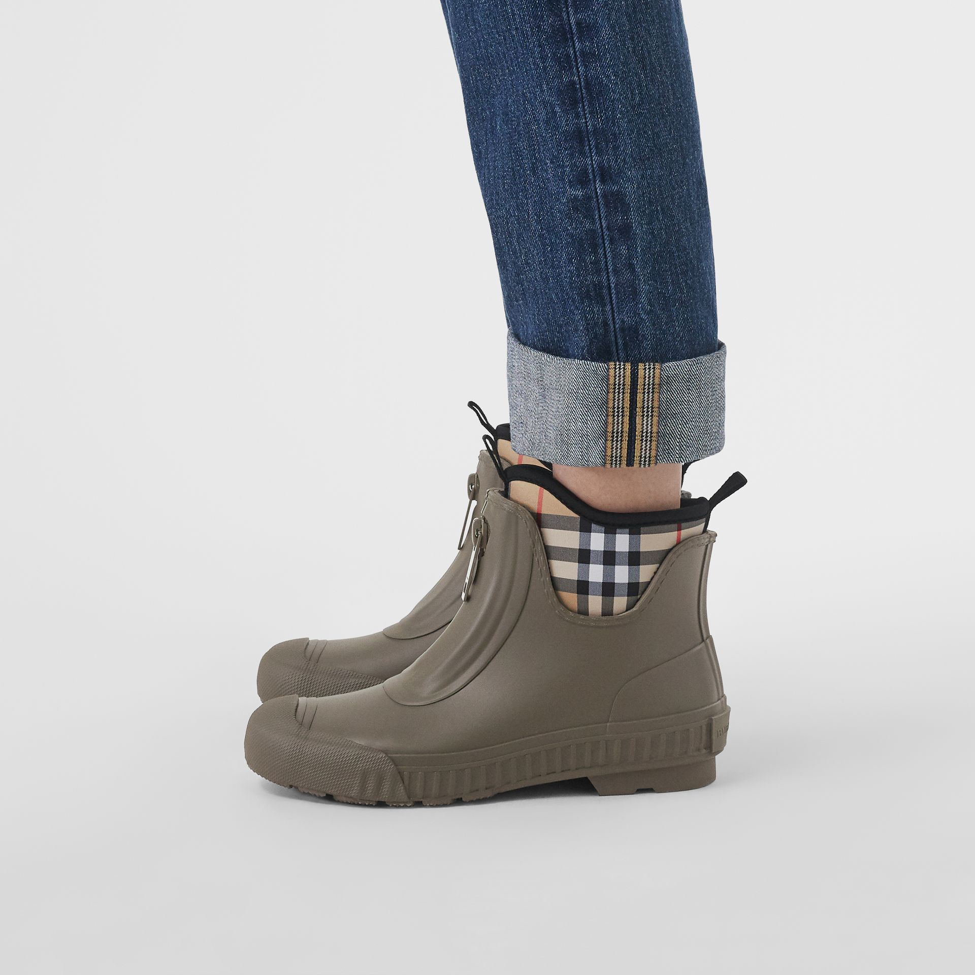 Vintage Check Neoprene and Rubber Rain Boots in Military Green - Women | Burberry - gallery image 2