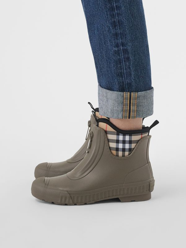 Vintage Check Neoprene and Rubber Rain Boots in Military Green - Women | Burberry - cell image 2