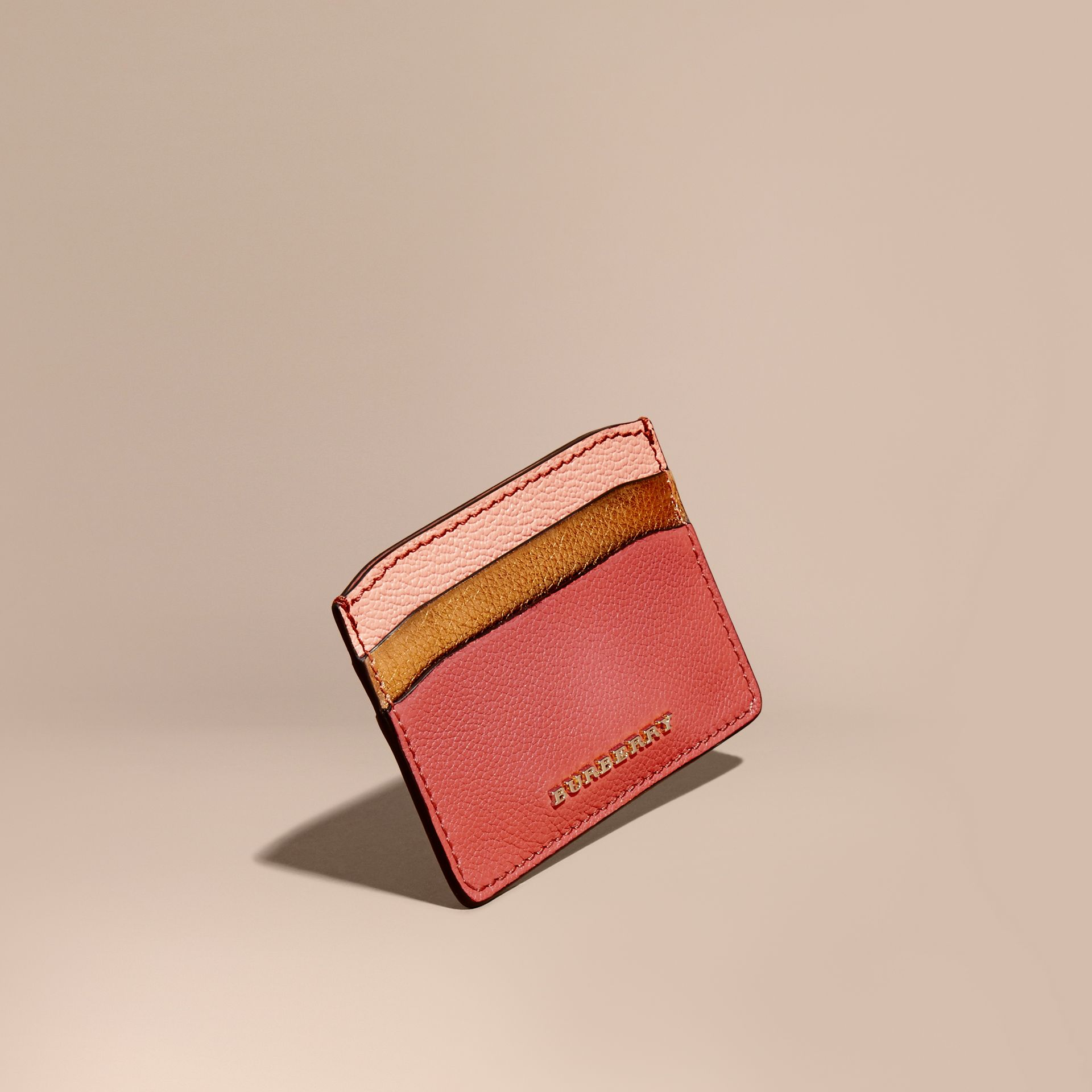 Colour Block Leather Card Case in Copper Pink - gallery image 1