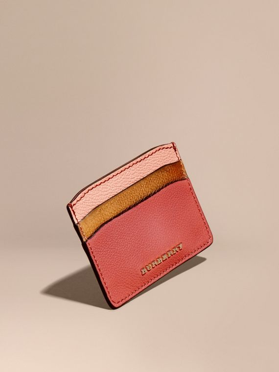 Colour Block Leather Card Case Copper Pink