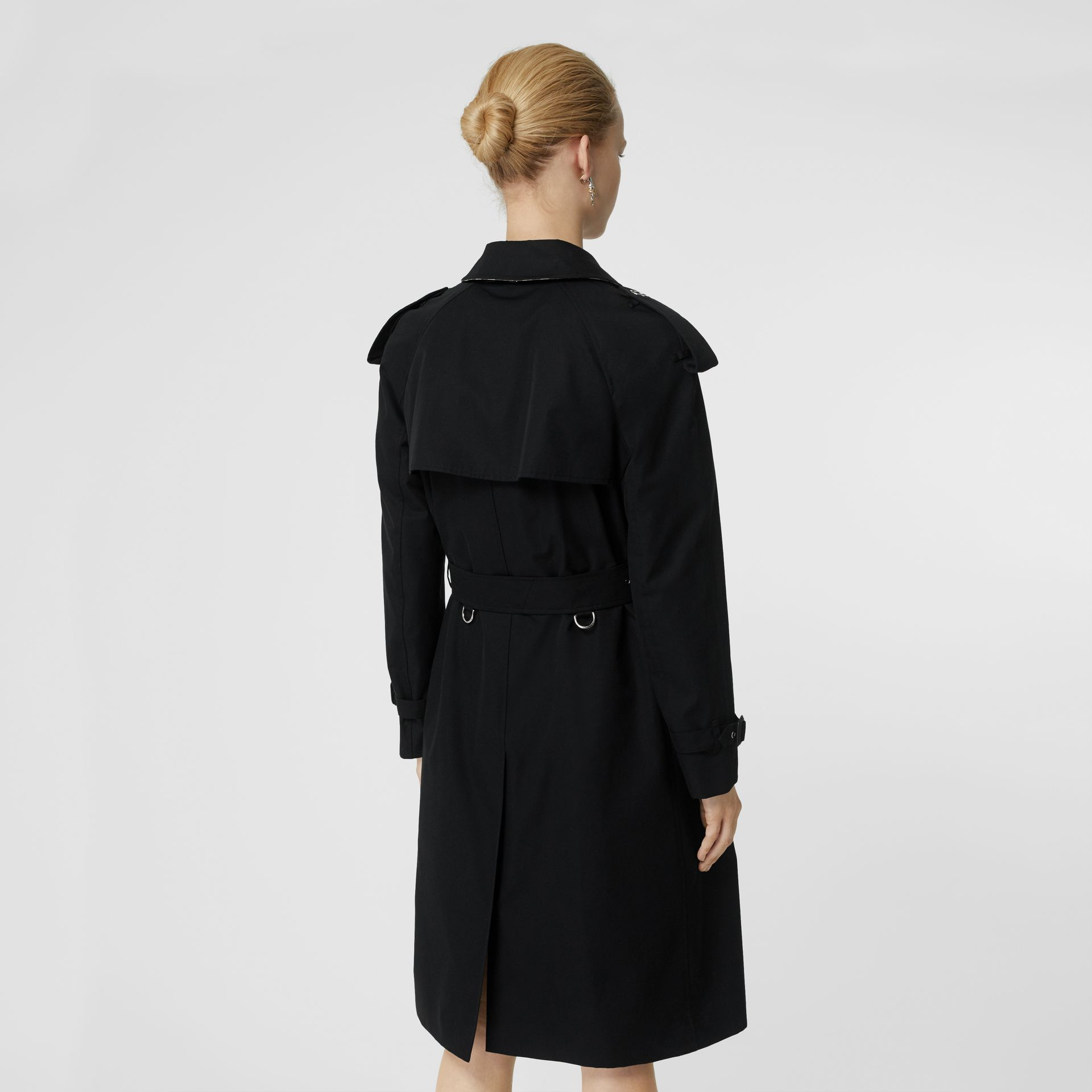 Press-stud Detail Cotton Gabardine Trench Coat in Black - Women | Burberry - gallery image 2