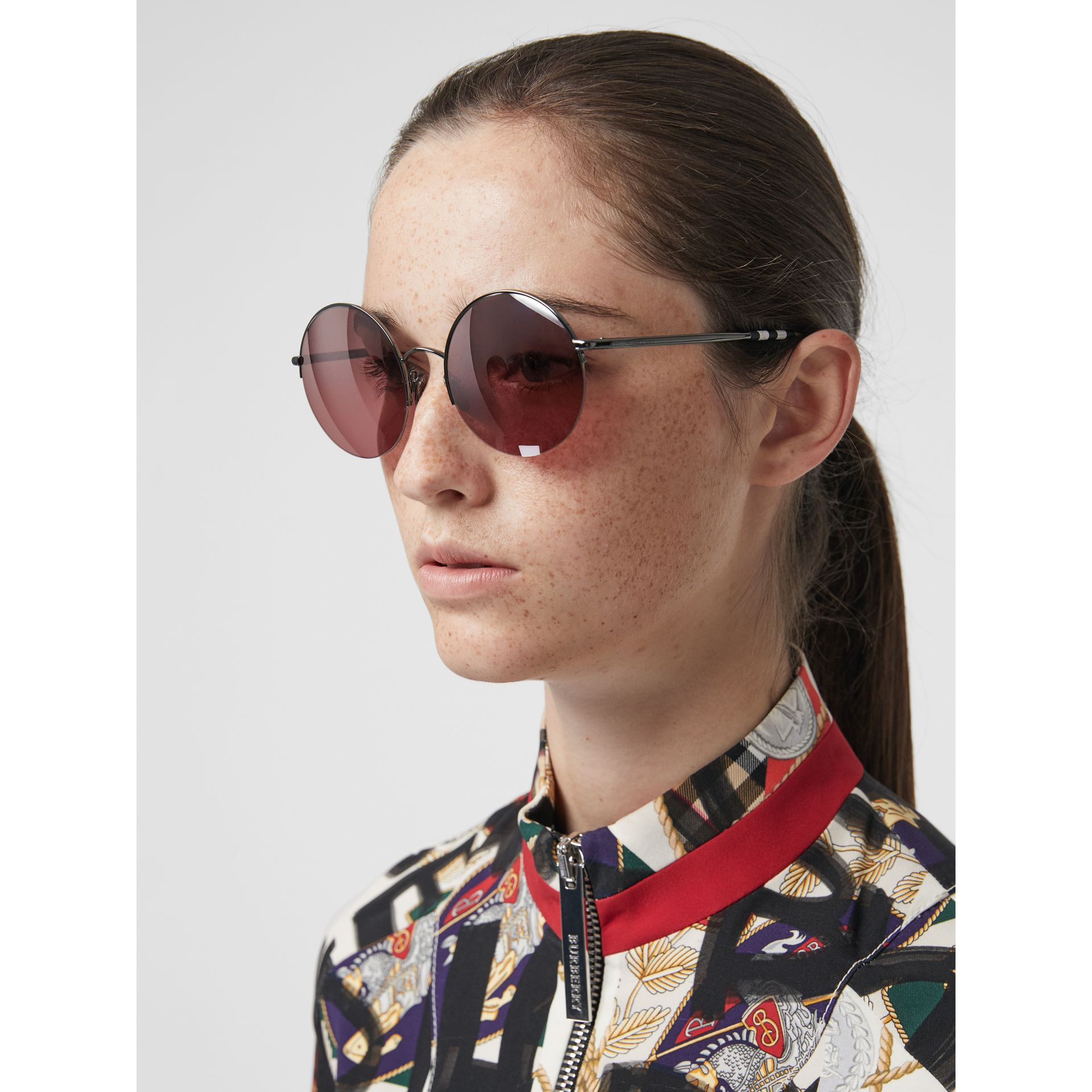 Mirrored Round Frame Sunglasses in Burgundy - Women | Burberry - gallery image 2