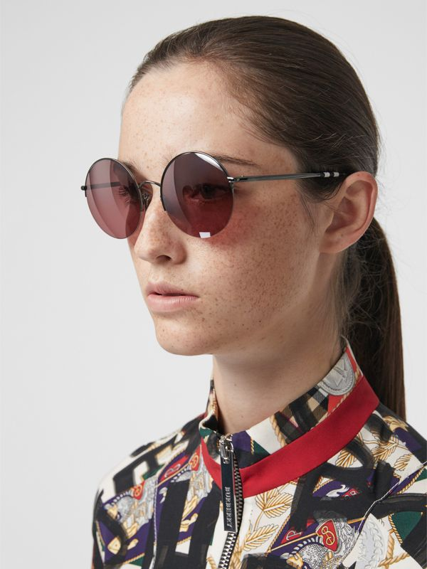 Mirrored Round Frame Sunglasses in Burgundy - Women | Burberry - cell image 2