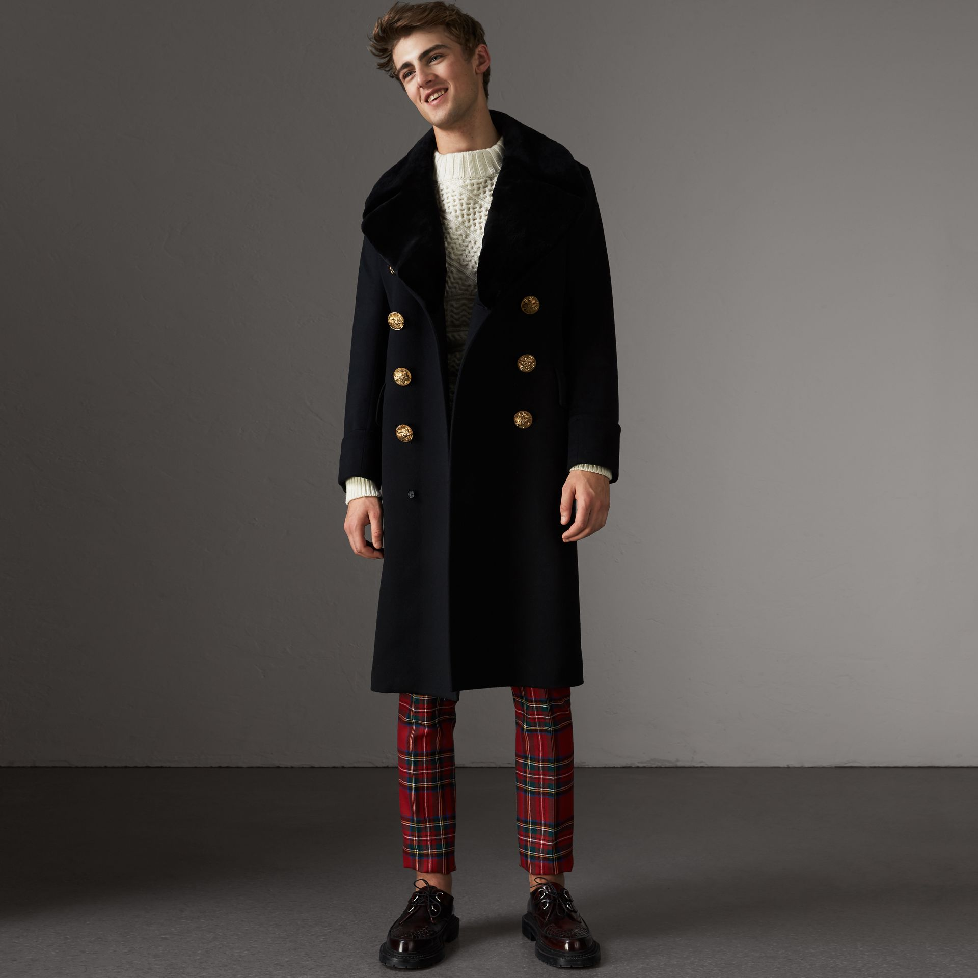 Detachable Mink Collar Cashmere Wool Greatcoat in Black - Men | Burberry - gallery image 1
