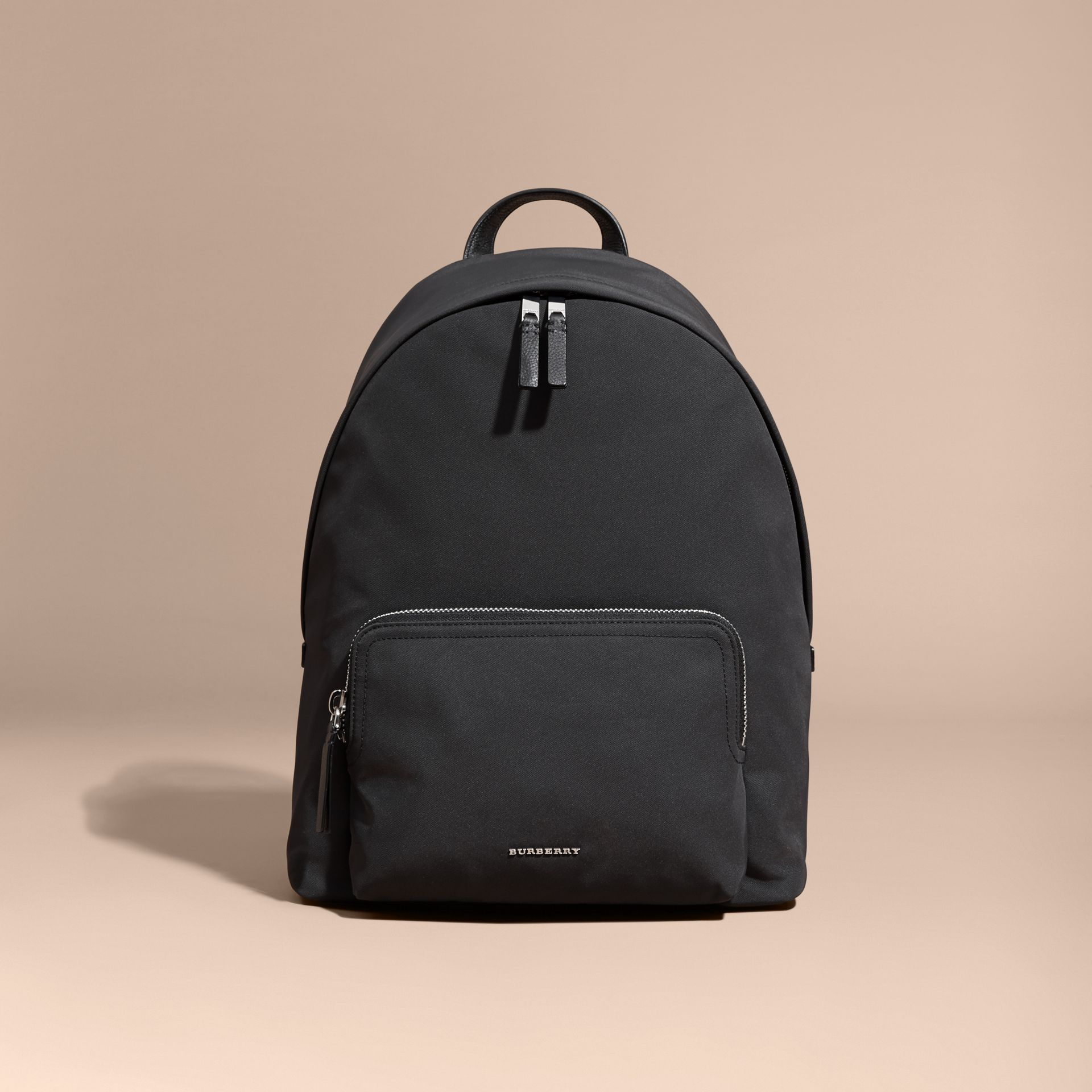 Leather Trim Technical Backpack in Black - gallery image 8