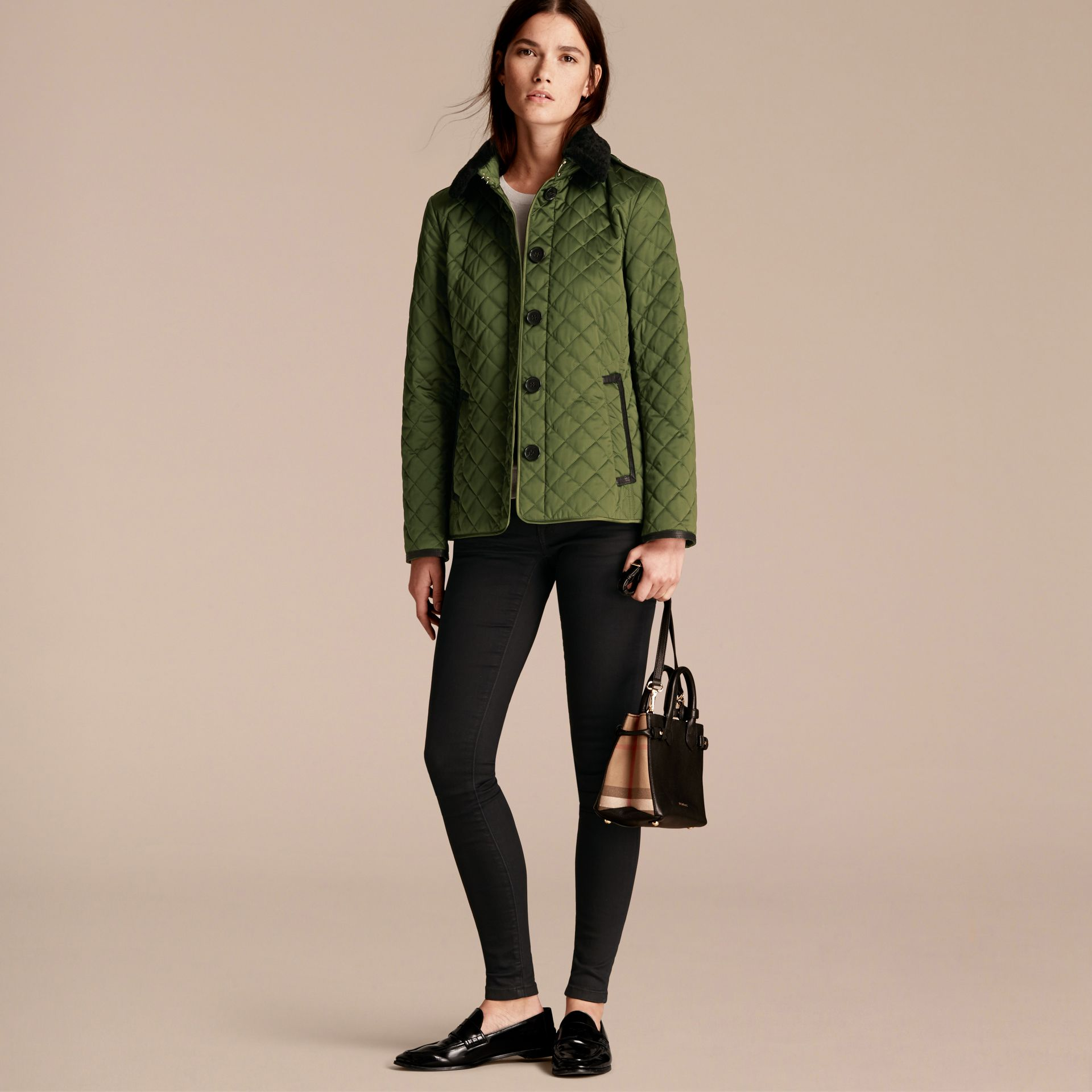 Bright moss green Quilted Jacket with Shearling Collar - gallery image 6