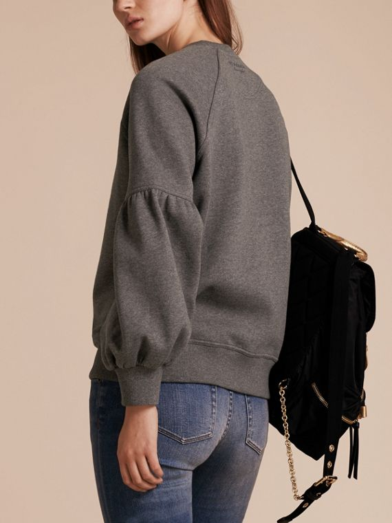 Brushed-back Jersey Sweatshirt with Bell Sleeves Mid Grey Melange - cell image 2