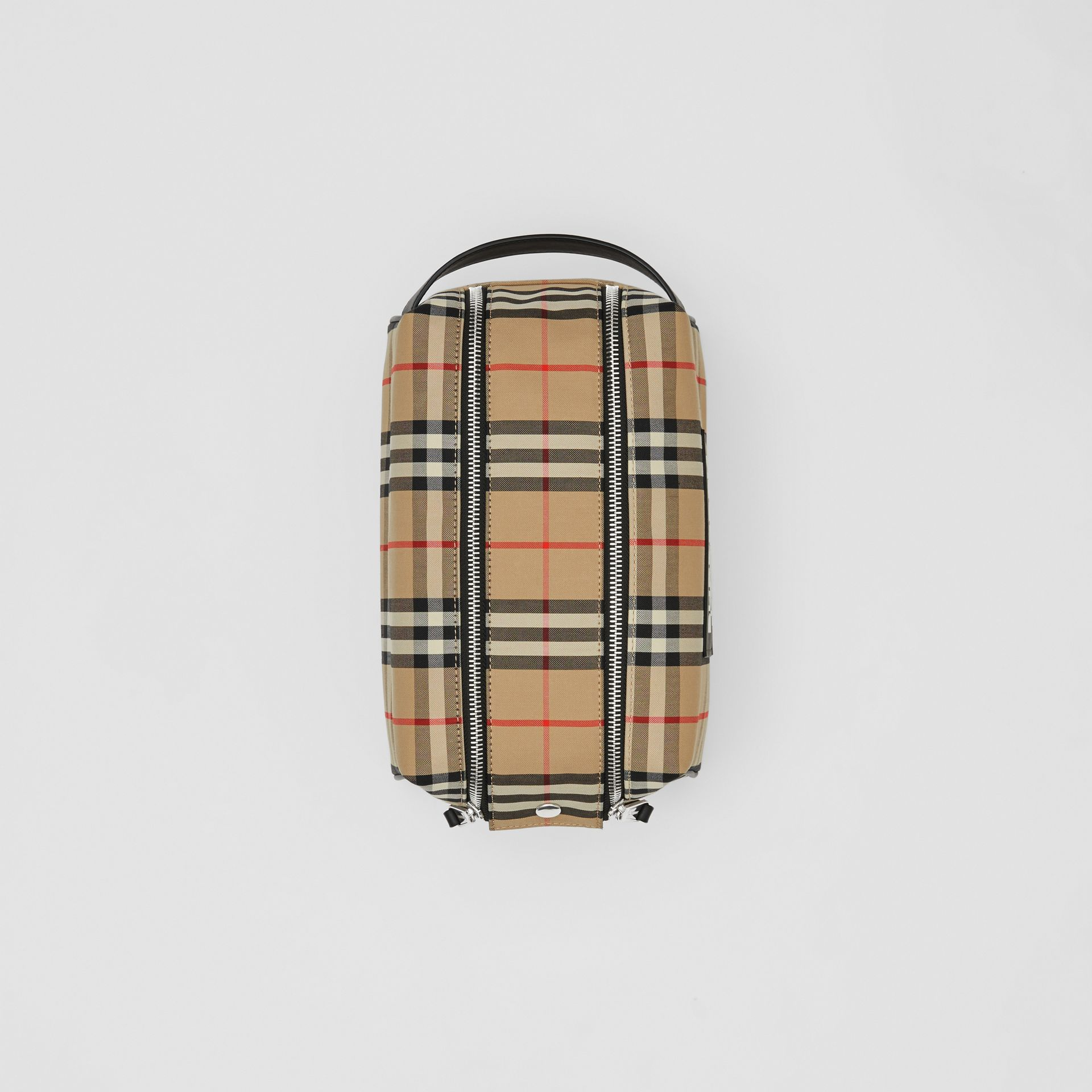 Logo Appliqué Vintage Check Travel Pouch in Archive Beige - Men | Burberry - gallery image 3