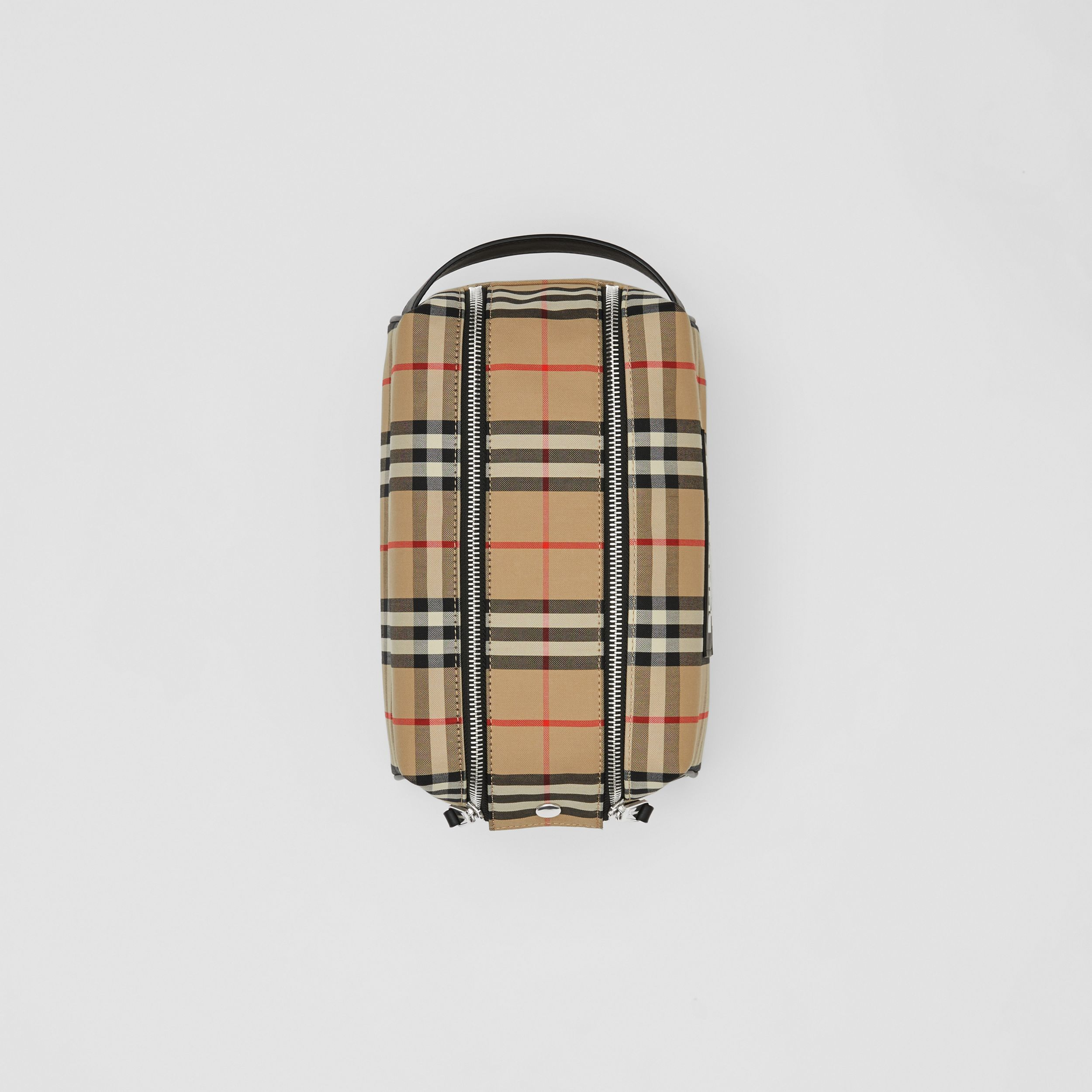 Logo Appliqué Vintage Check Travel Pouch in Archive Beige | Burberry - 4