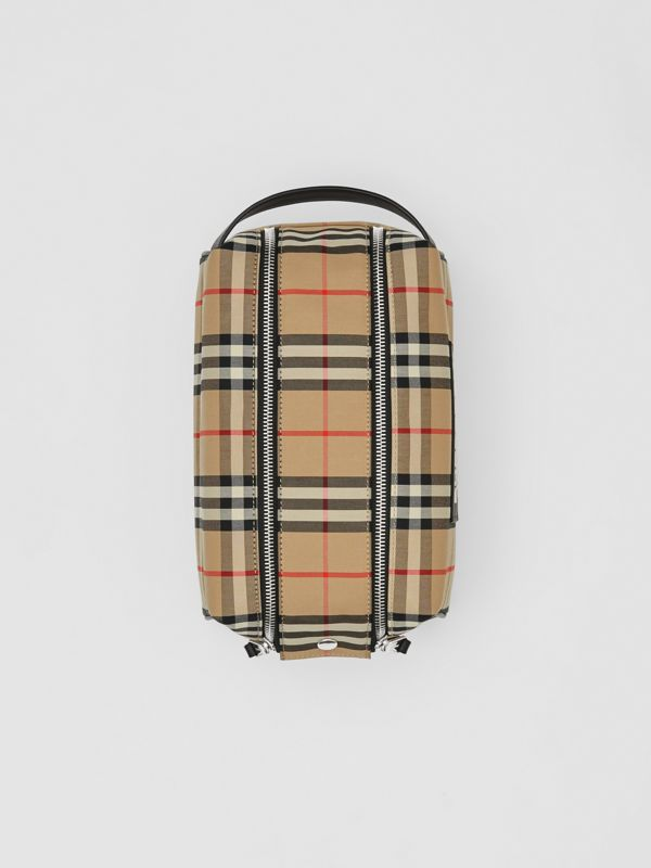 Logo Appliqué Vintage Check Travel Pouch in Archive Beige - Men | Burberry - cell image 3