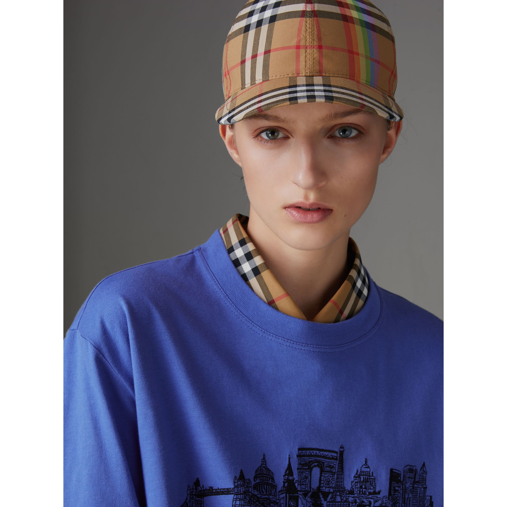 Rainbow Vintage Check Baseball Cap in Antique Yellow/rainbow | Burberry Australia - gallery image 2