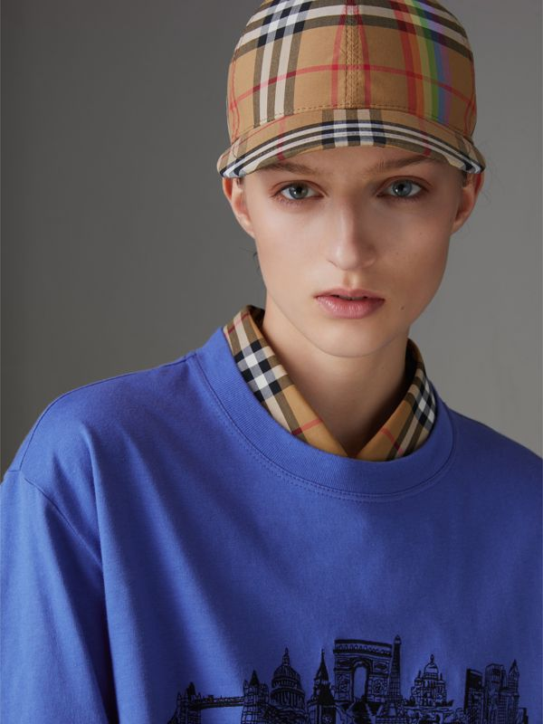 Rainbow Vintage Check Baseball Cap in Antique Yellow/rainbow | Burberry Canada - cell image 2