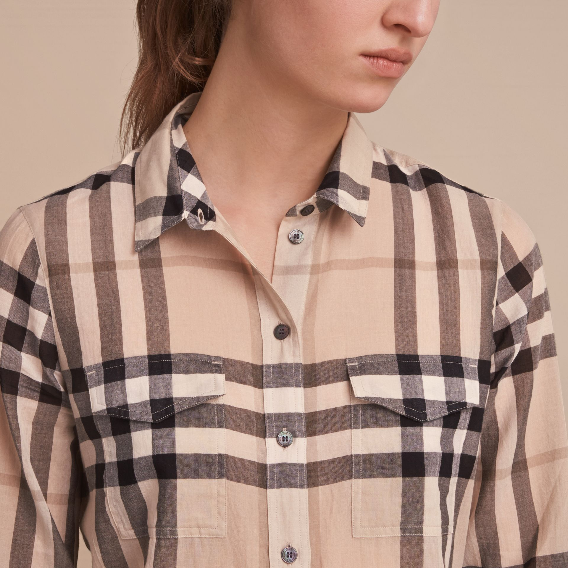 Check Cotton Shirt in Chino - gallery image 5
