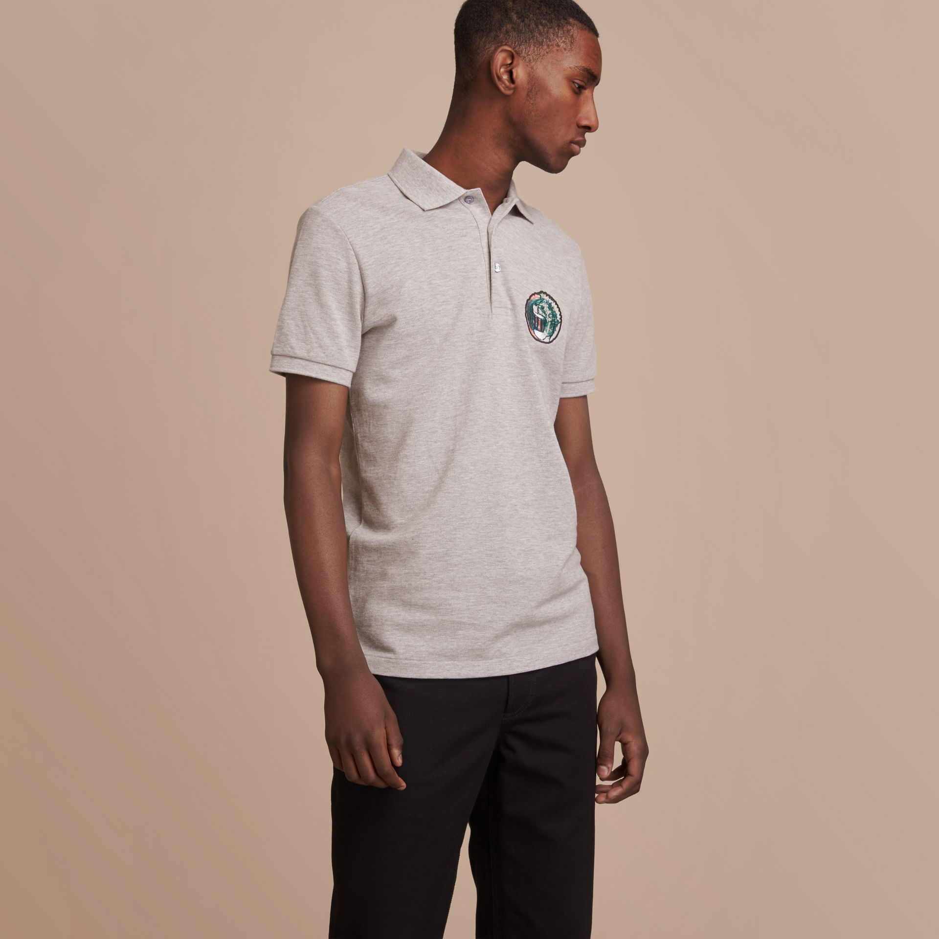 Pallas Heads Appliqué Cotton Polo Shirt in Pale Grey Melange - gallery image 6