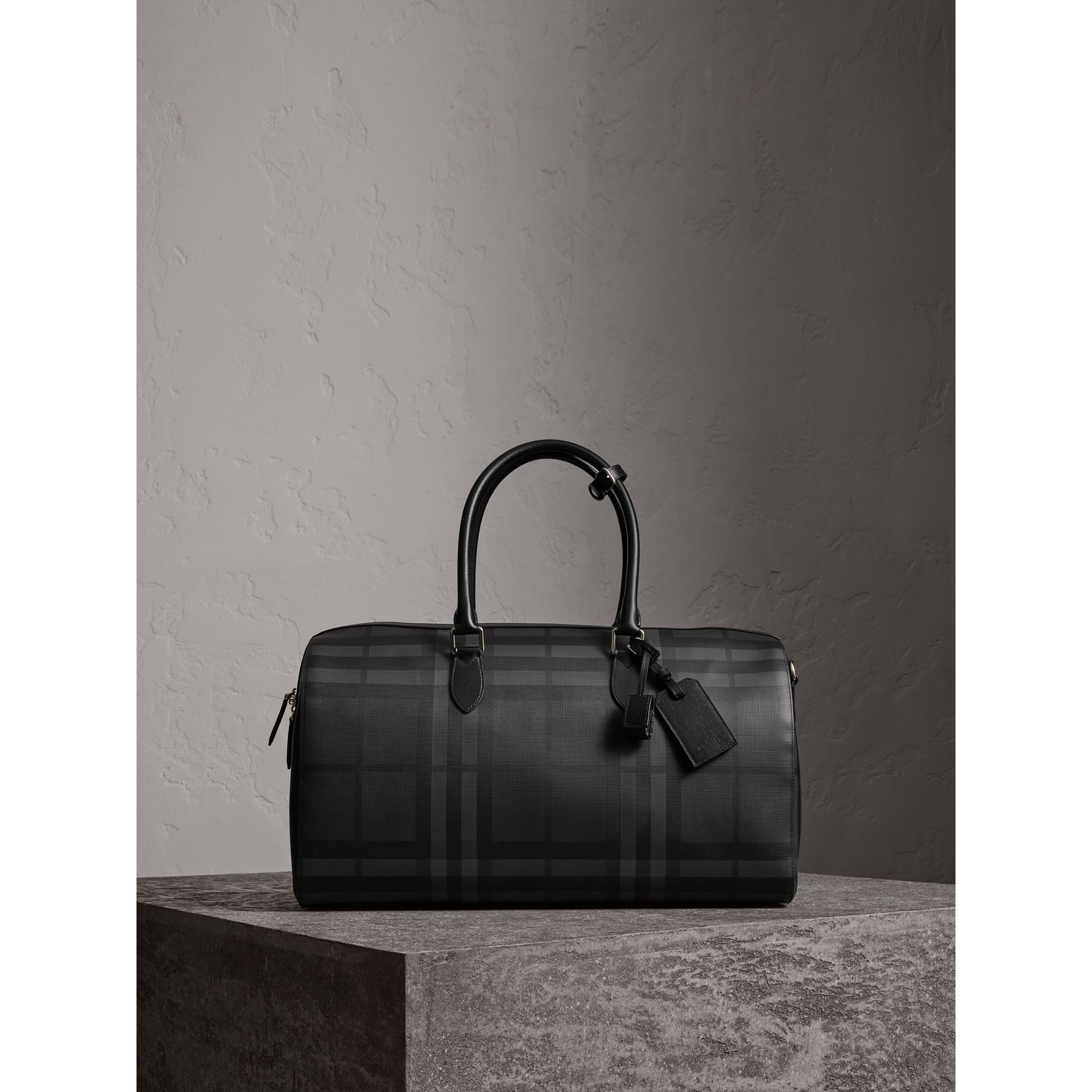 Leather Trim London Check Holdall in Charcoal/black - Men | Burberry - gallery image 1