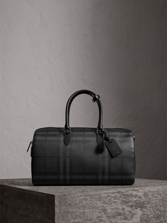 Leather Trim London Check Holdall in Charcoal/black