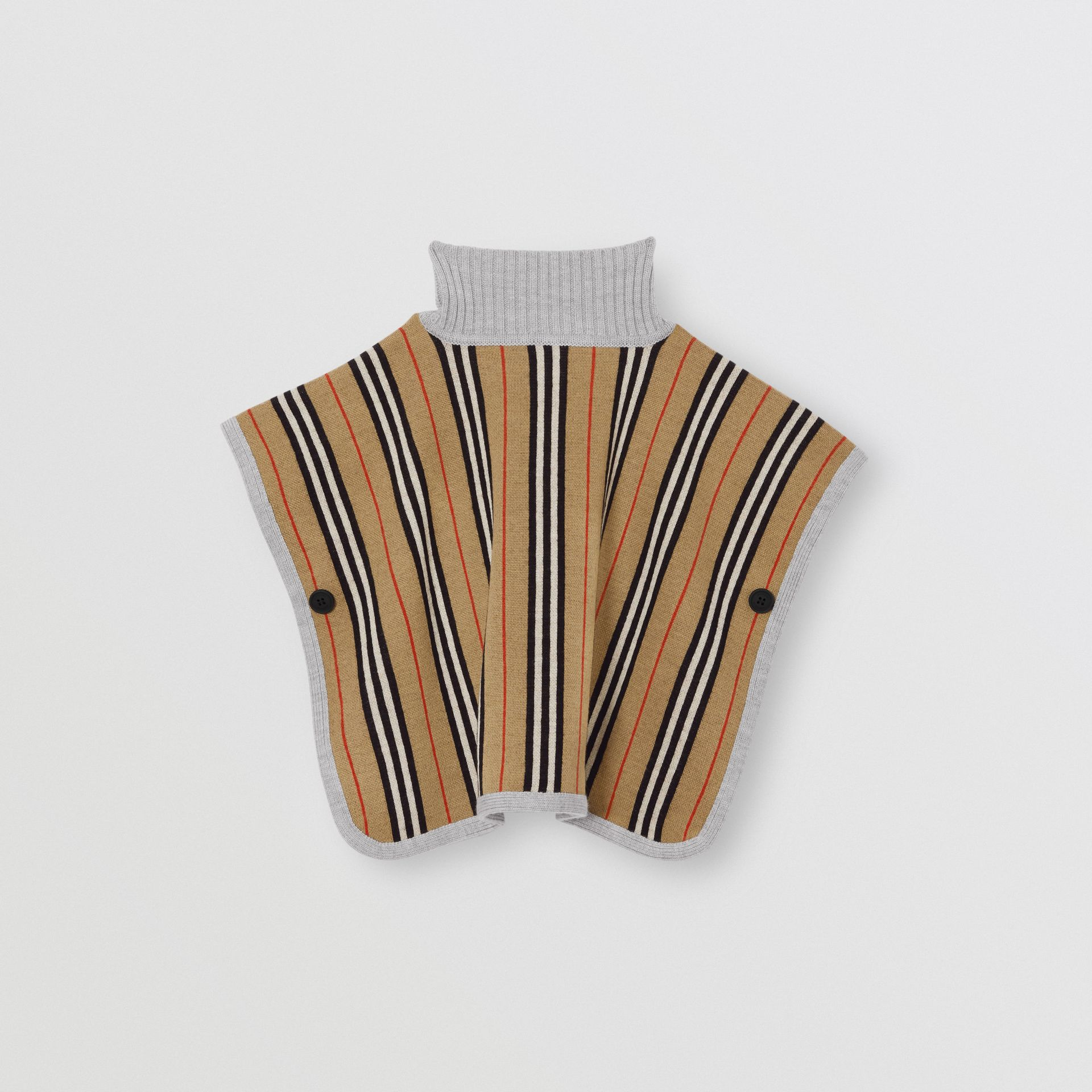 Reversible Icon Stripe Merino Wool Jacquard Poncho in Archive Beige - Children | Burberry - gallery image 4