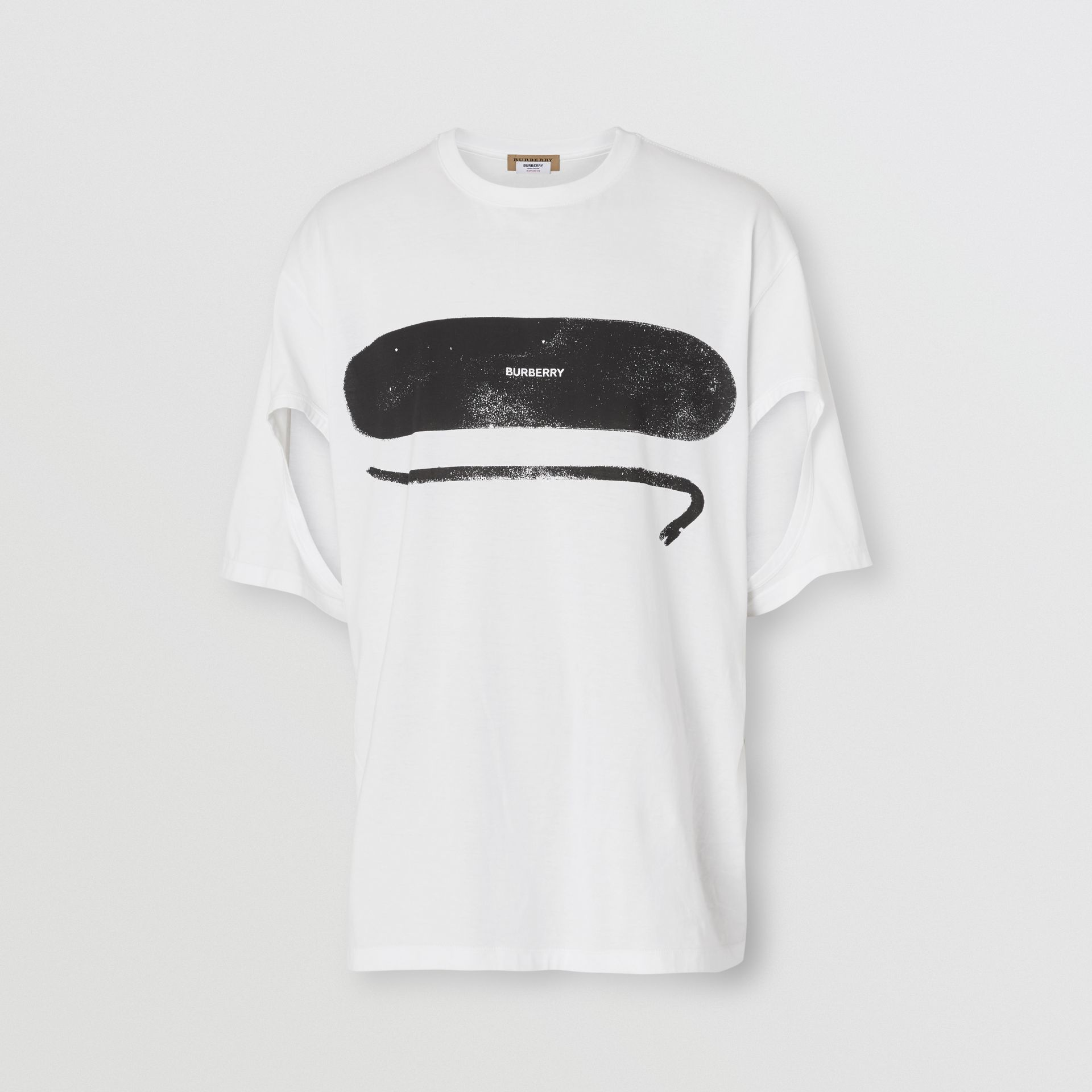 Cut-out Detail Logo Print Cotton Oversized T-shirt in Optic White | Burberry United Kingdom - gallery image 3