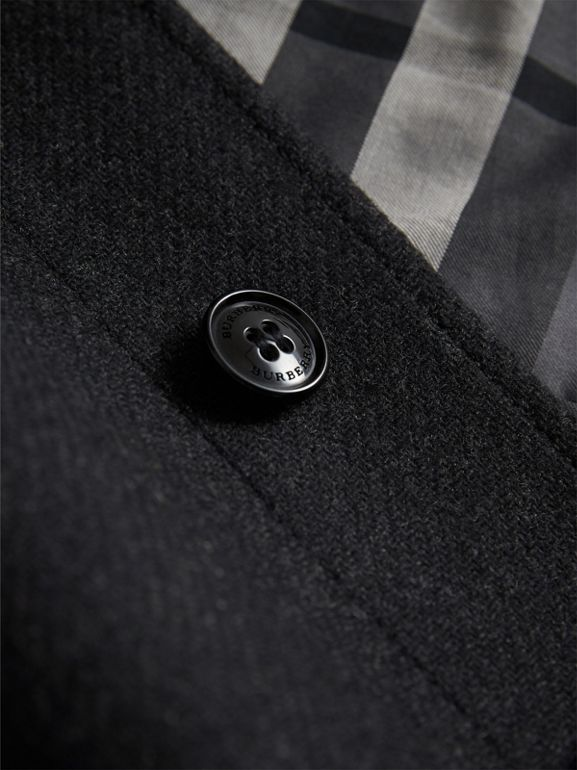 Wool Cashmere Blend Car Coat in Dark Grey Melange | Burberry - cell image 1
