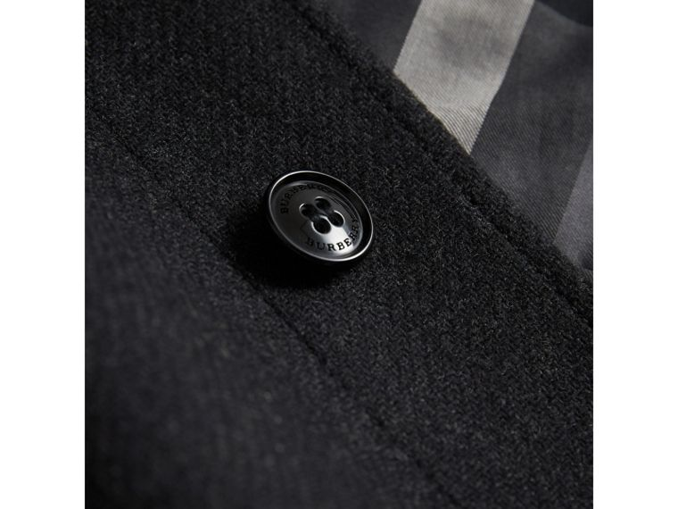 Wool Cashmere Blend Car Coat in Dark Grey Melange - Boy | Burberry United Kingdom - cell image 1