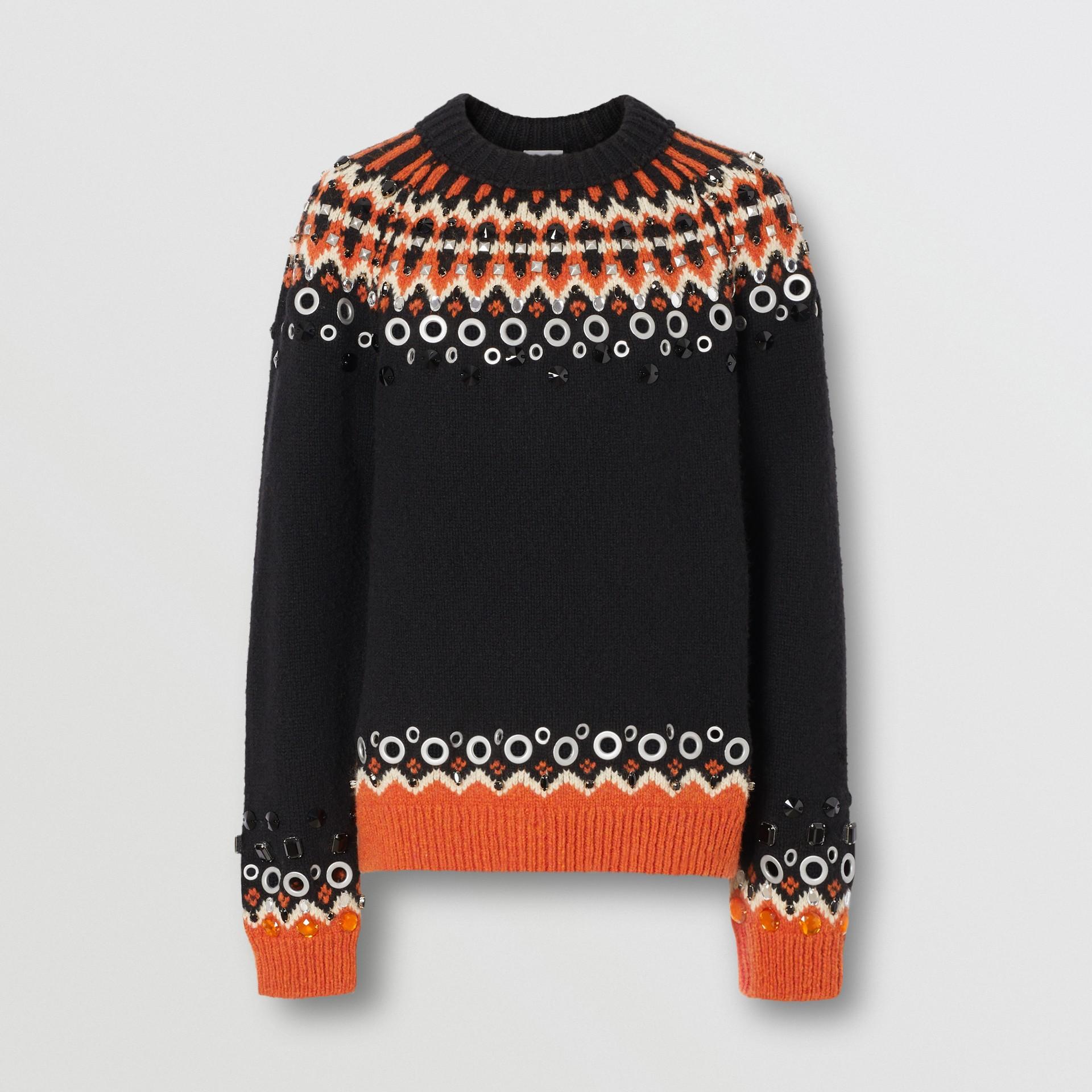 Embellished Fair Isle Wool Sweater in Black - Men | Burberry - gallery image 3