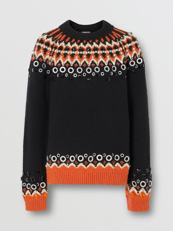 Embellished Fair Isle Wool Sweater in Black
