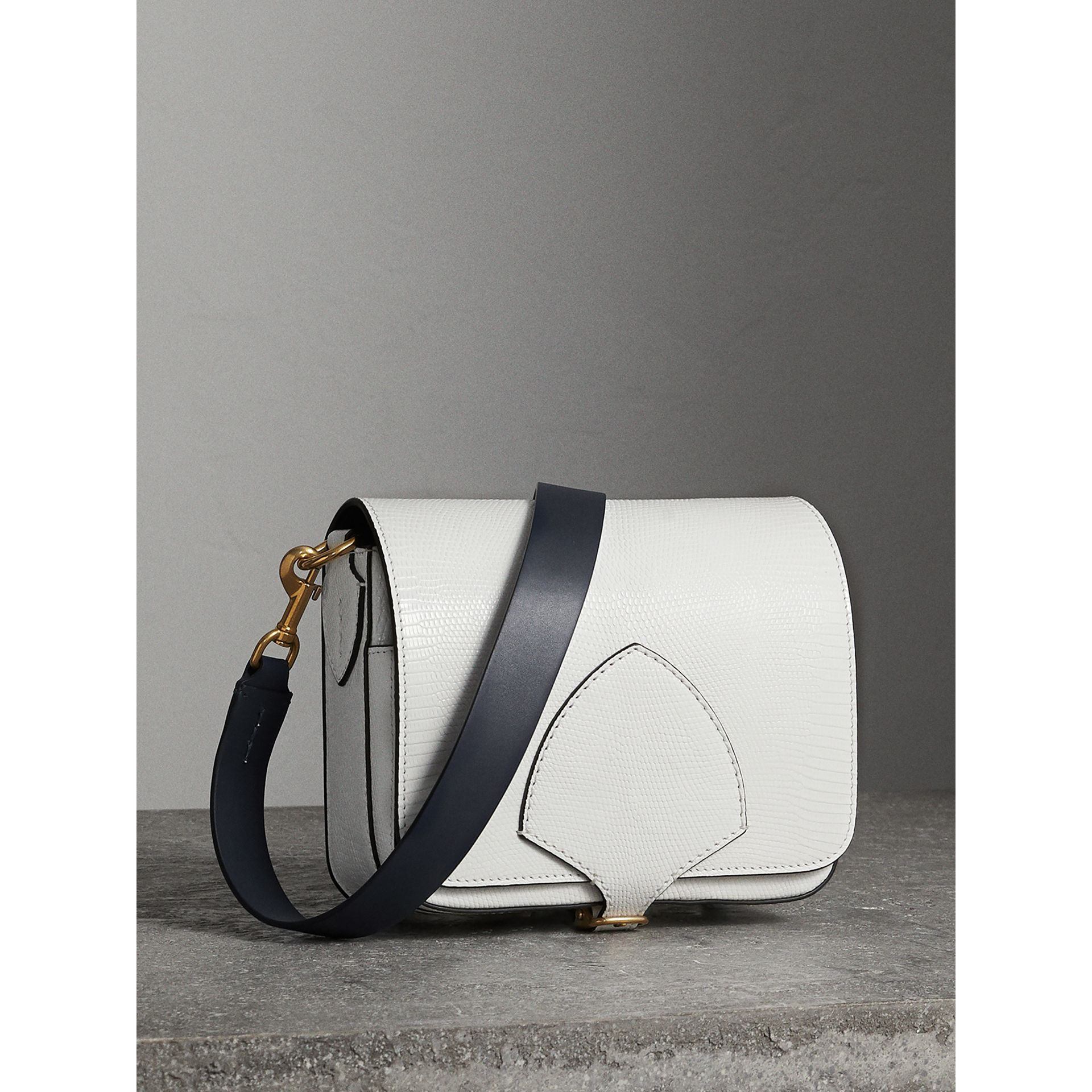 The Square Satchel in Lizard in White - Women | Burberry - gallery image 8