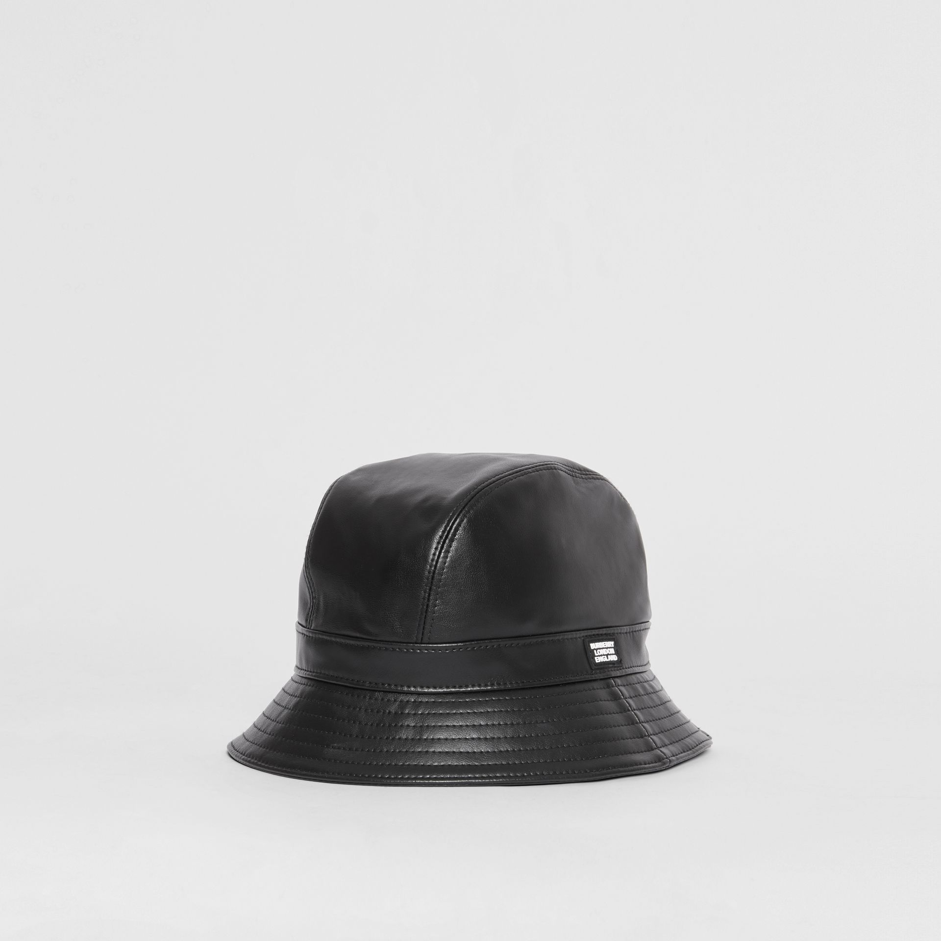 Logo Detail Faux Leather Bucket Hat in Black | Burberry - gallery image 0