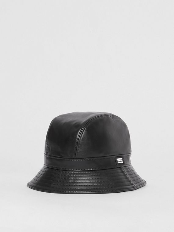 Logo Detail Faux Leather Bucket Hat in Black