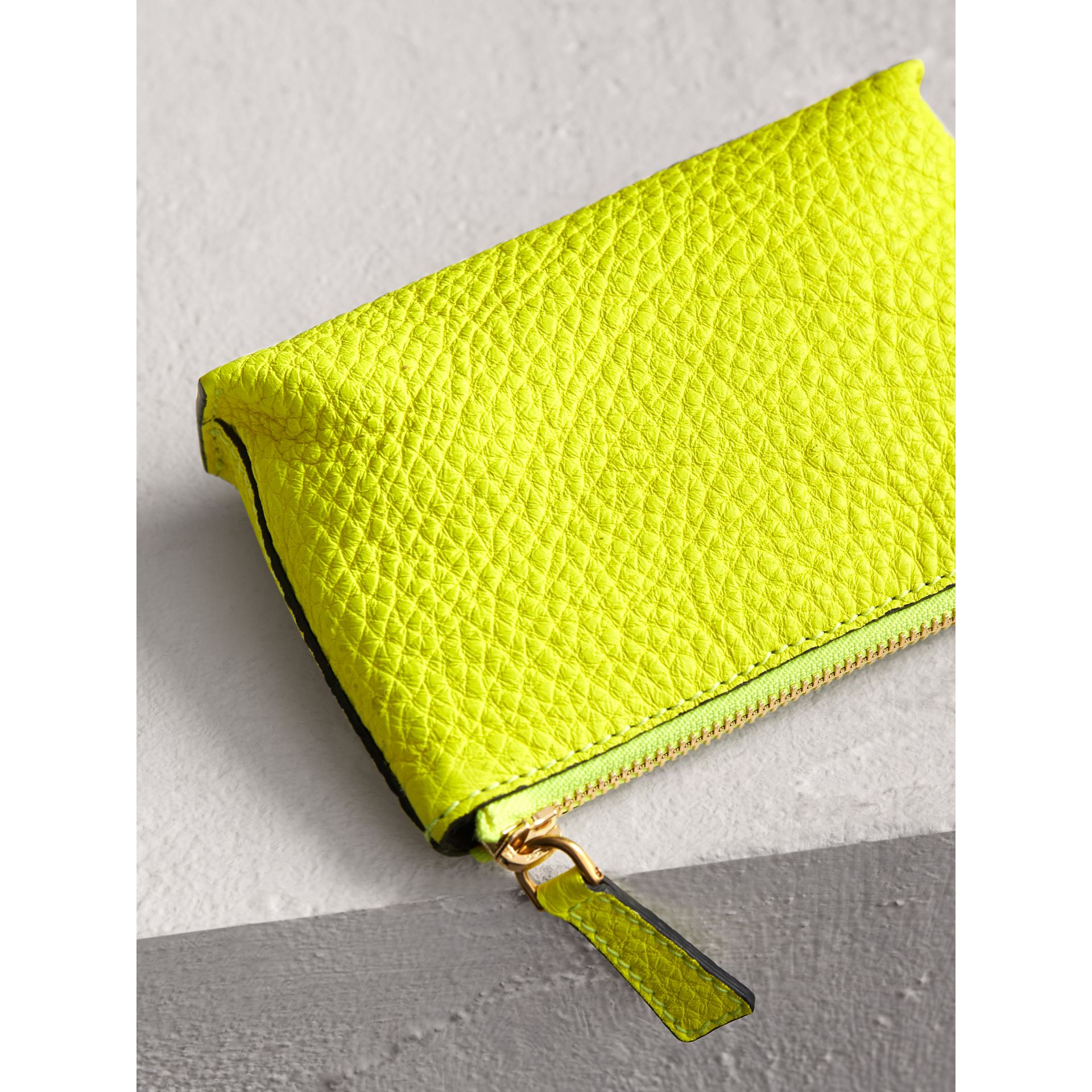 Small Embossed Leather Zip Pouch in Bright Yellow | Burberry - gallery image 2