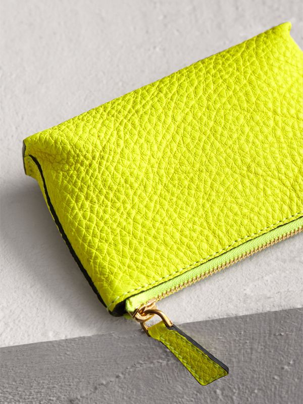 Small Embossed Leather Zip Pouch in Bright Yellow | Burberry - cell image 2