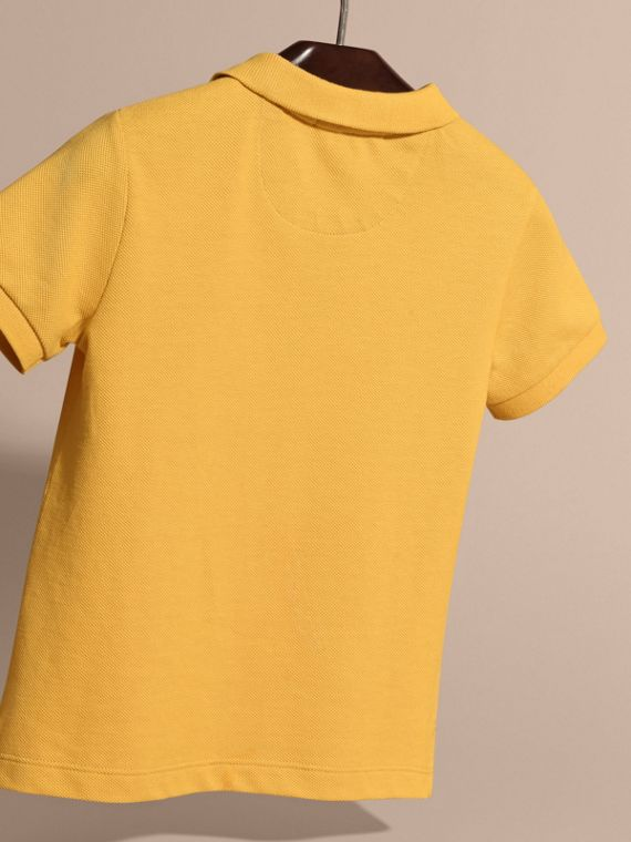 Check Placket Polo Shirt in Bright Yellow - Boy | Burberry - cell image 3