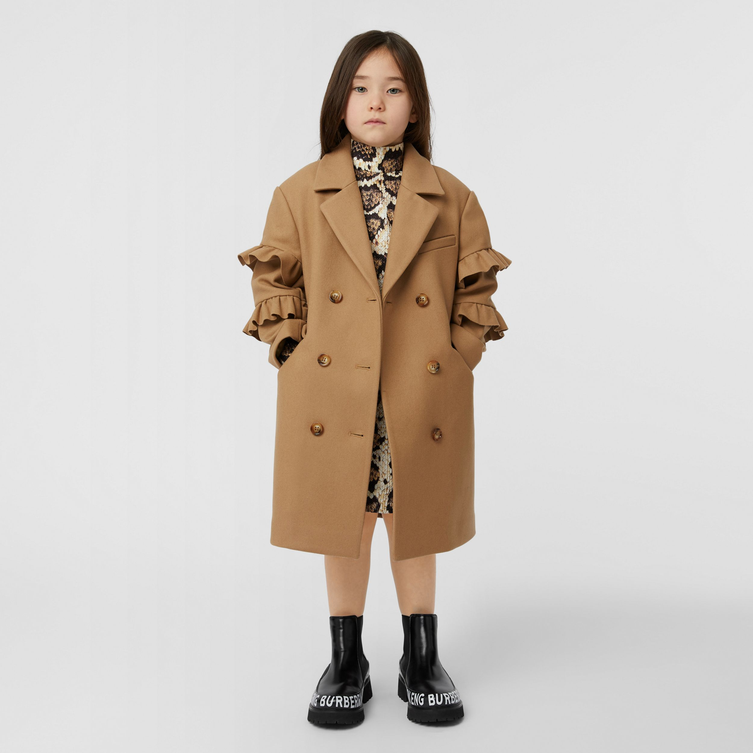 Ruffled Sleeve Wool Tailored Coat in Camel | Burberry - 3