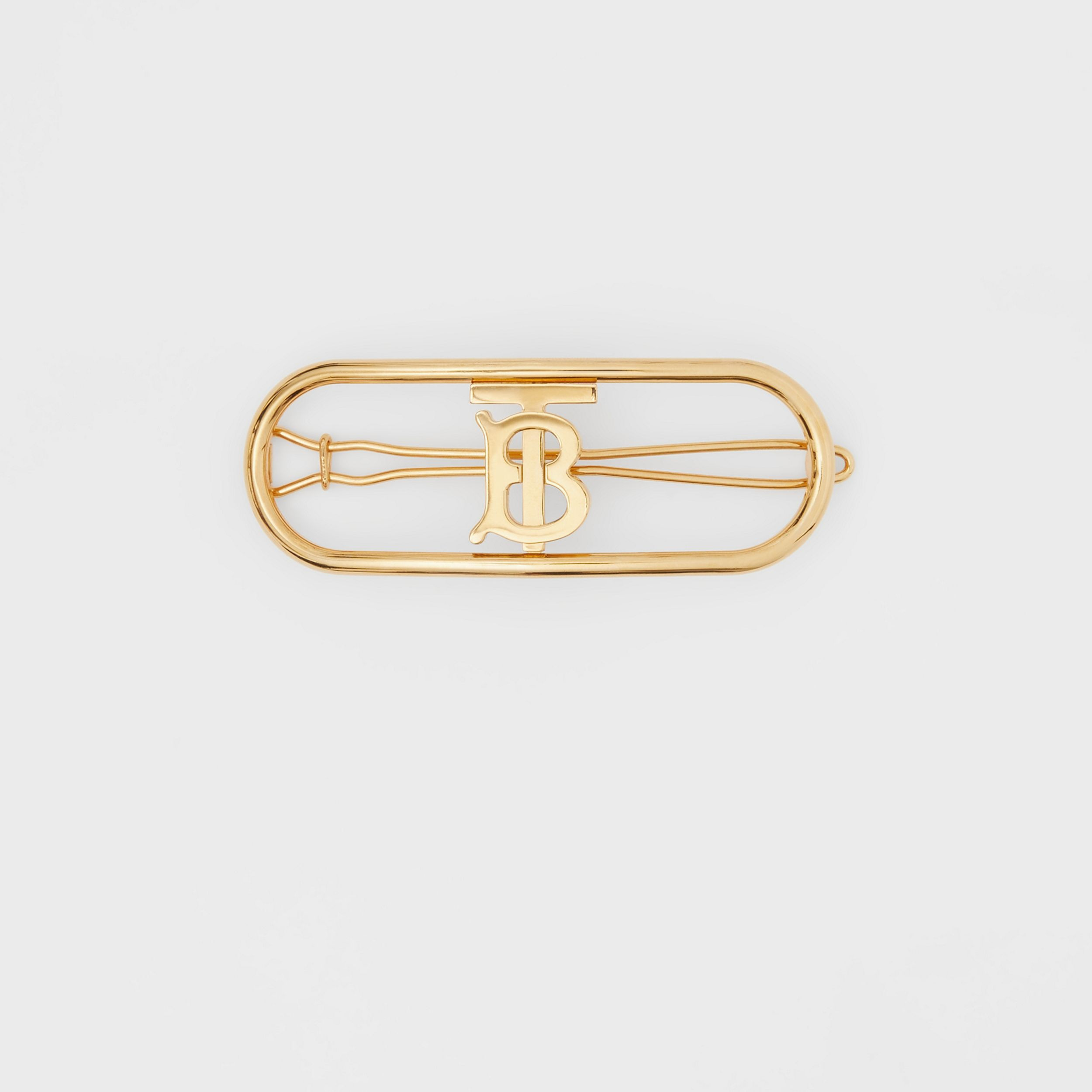 Gold-plated Monogram Motif Hair Clip in Light - Women | Burberry - 1
