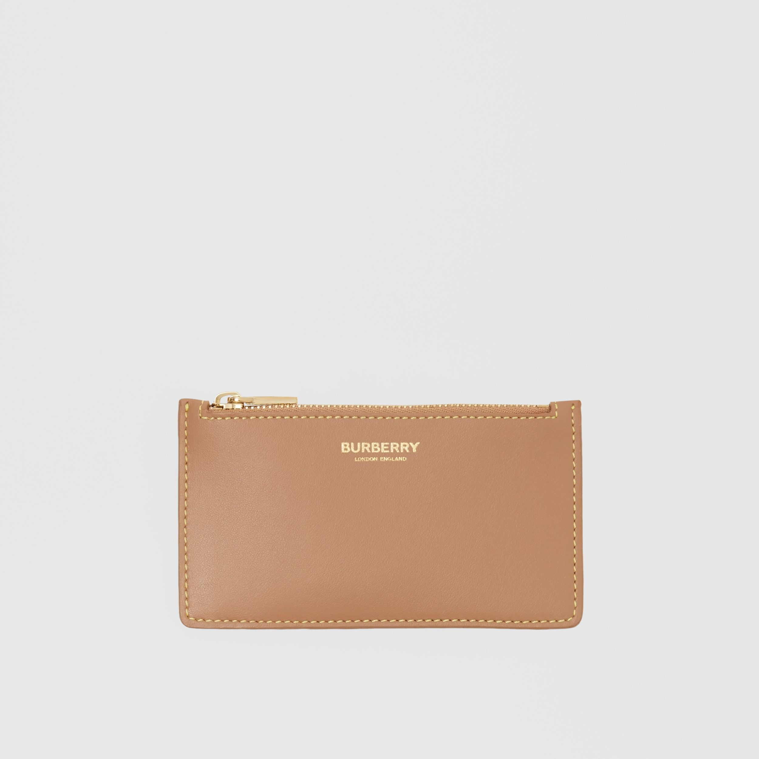 Leather Zip Card Case in Camel/marigold Yellow - Women | Burberry - 1