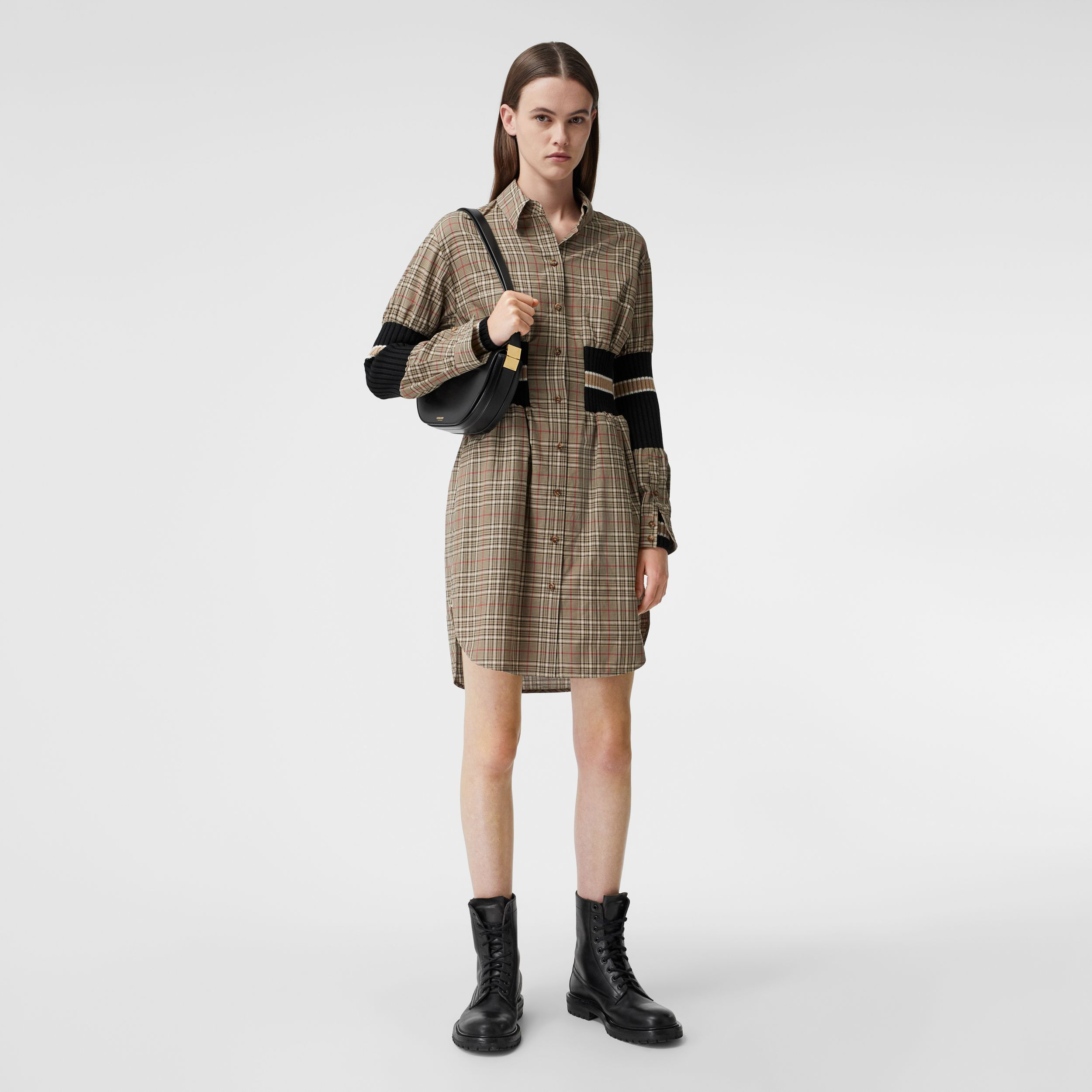 Rib Knit Panel Check Cotton Poplin Shirt Dress in Soft Fawn - Women | Burberry - 1