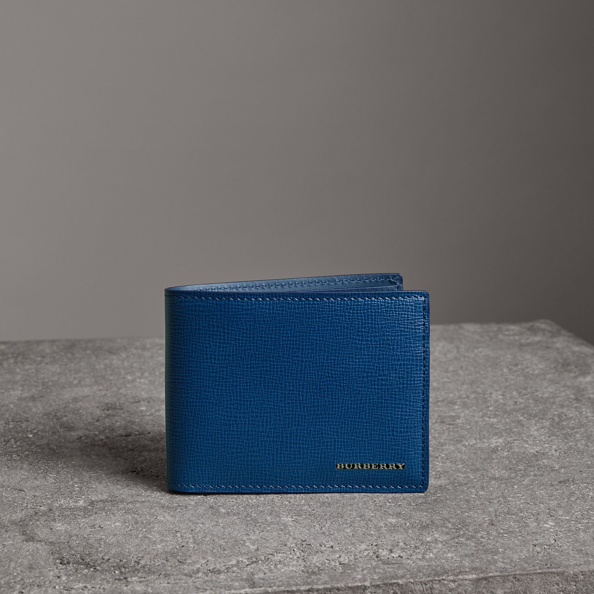 London Leather Bifold Wallet in Deep Blue - Men | Burberry - gallery image 0