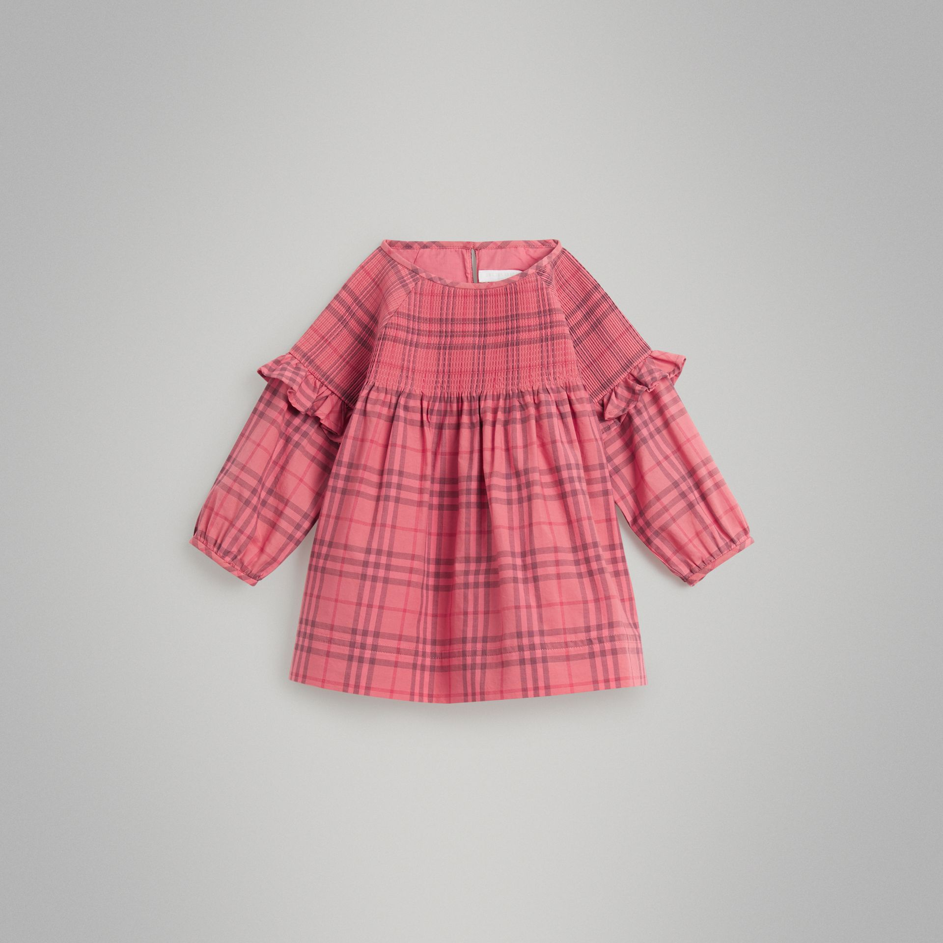 Ruffle Detail Check Cotton Dress in Coral Red - Children | Burberry Hong Kong - gallery image 0