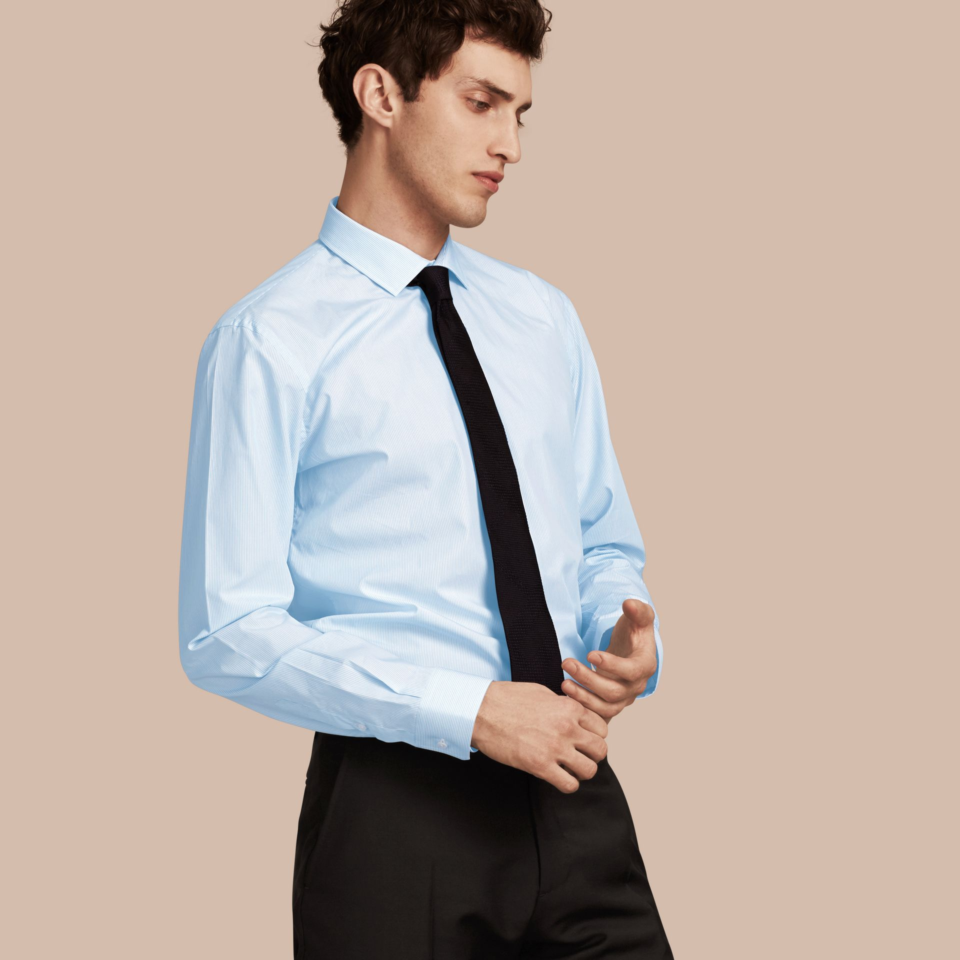 Modern Fit Striped Cotton Poplin Shirt in City Blue - Men | Burberry - gallery image 1